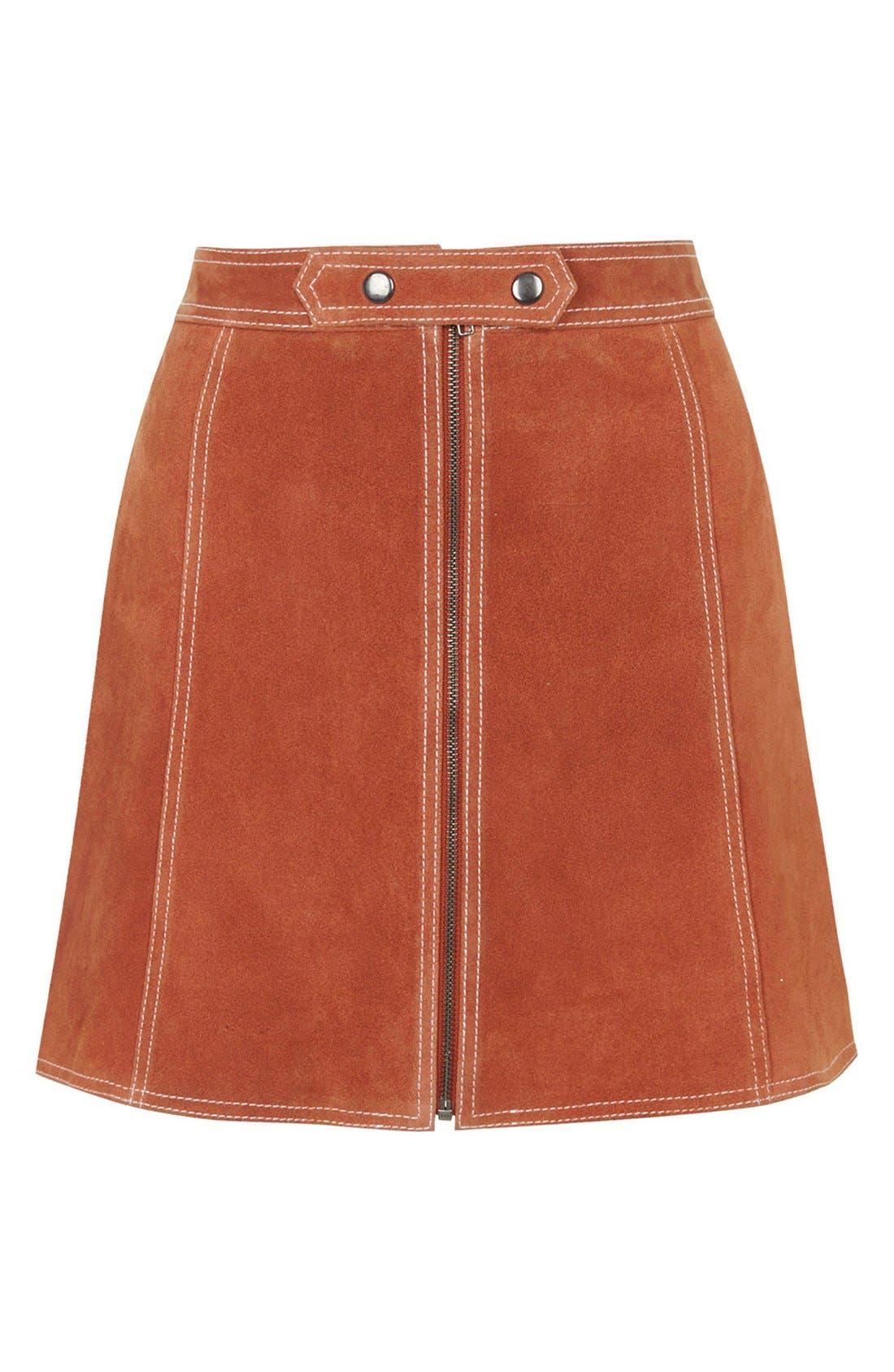 Suede A-Line Miniskirt,                             Alternate thumbnail 5, color,                             610