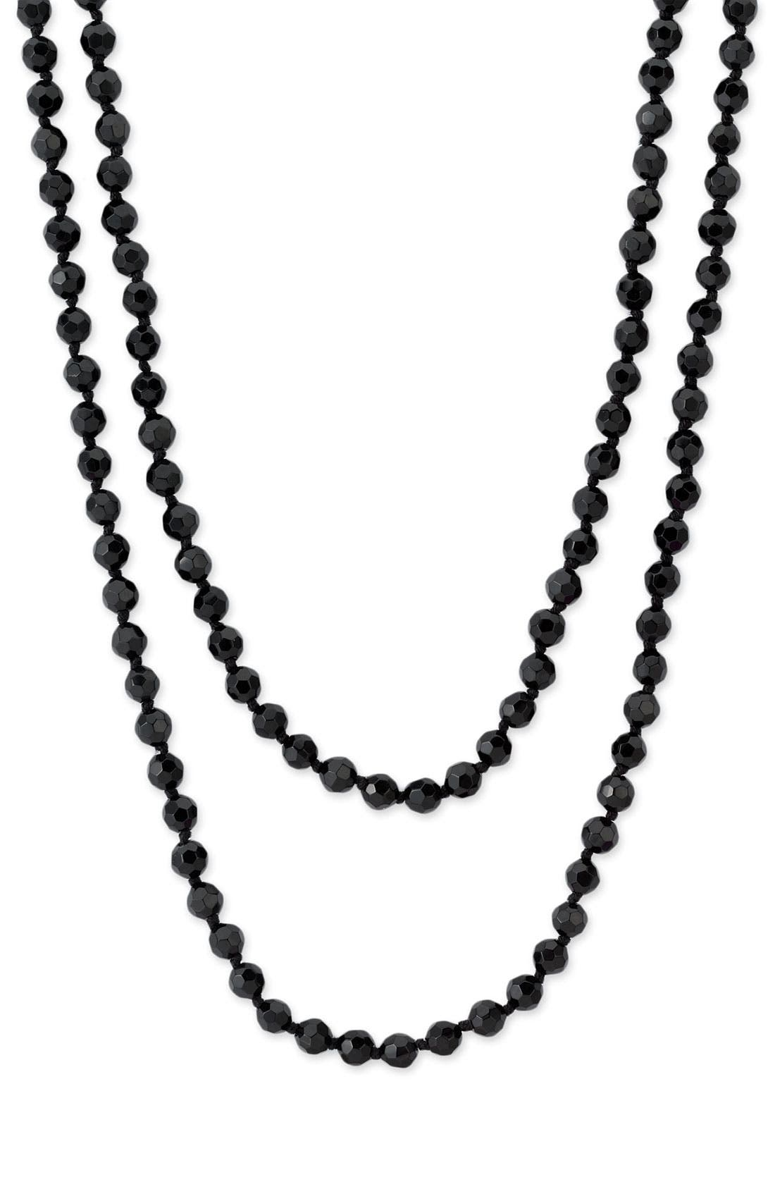 6mm Glass Pearl Extra Long Strand Necklace,                             Main thumbnail 1, color,                             001