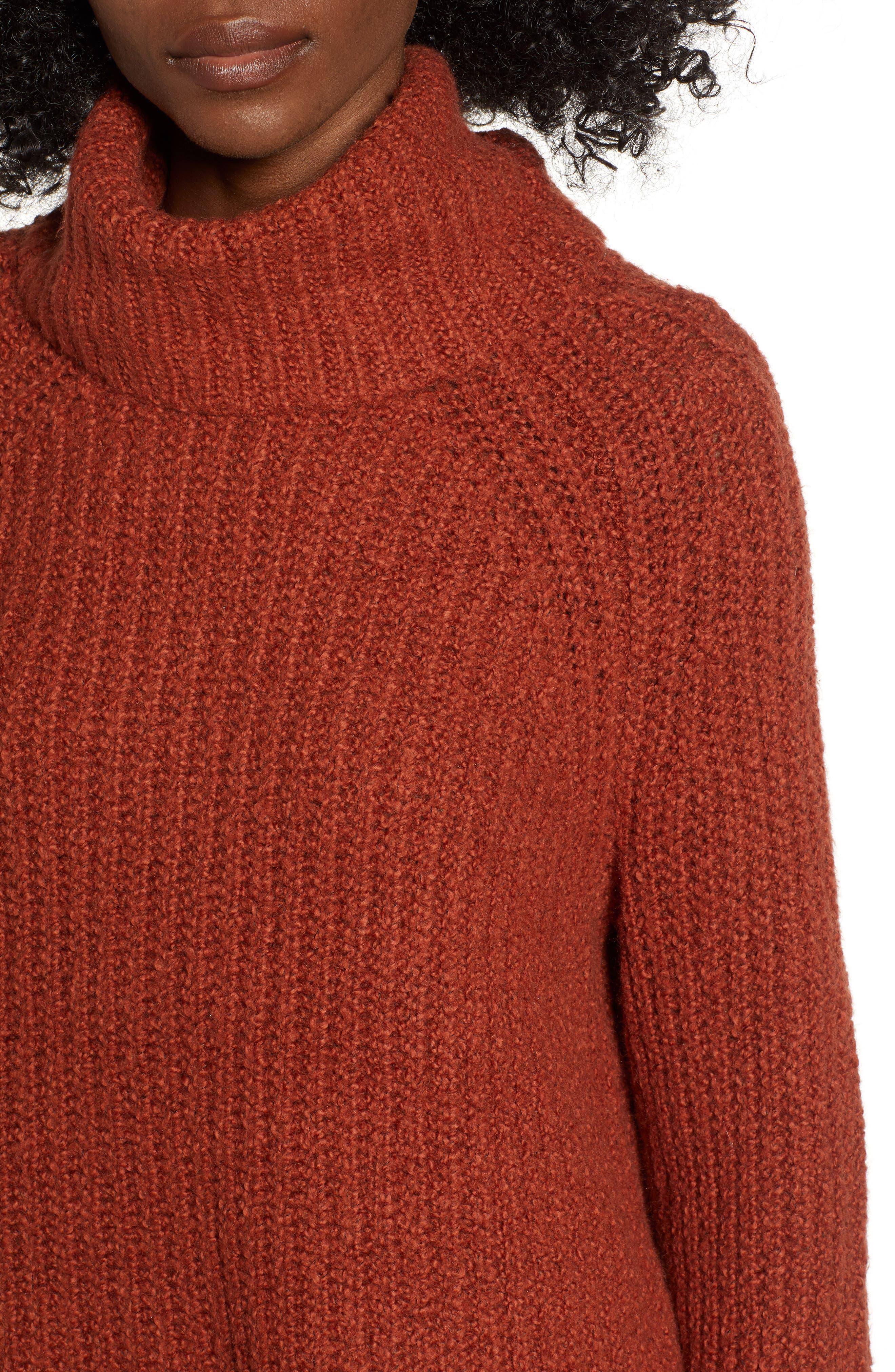 Cozy Turtleneck Sweater,                             Alternate thumbnail 4, color,                             RUST SEQUOIA