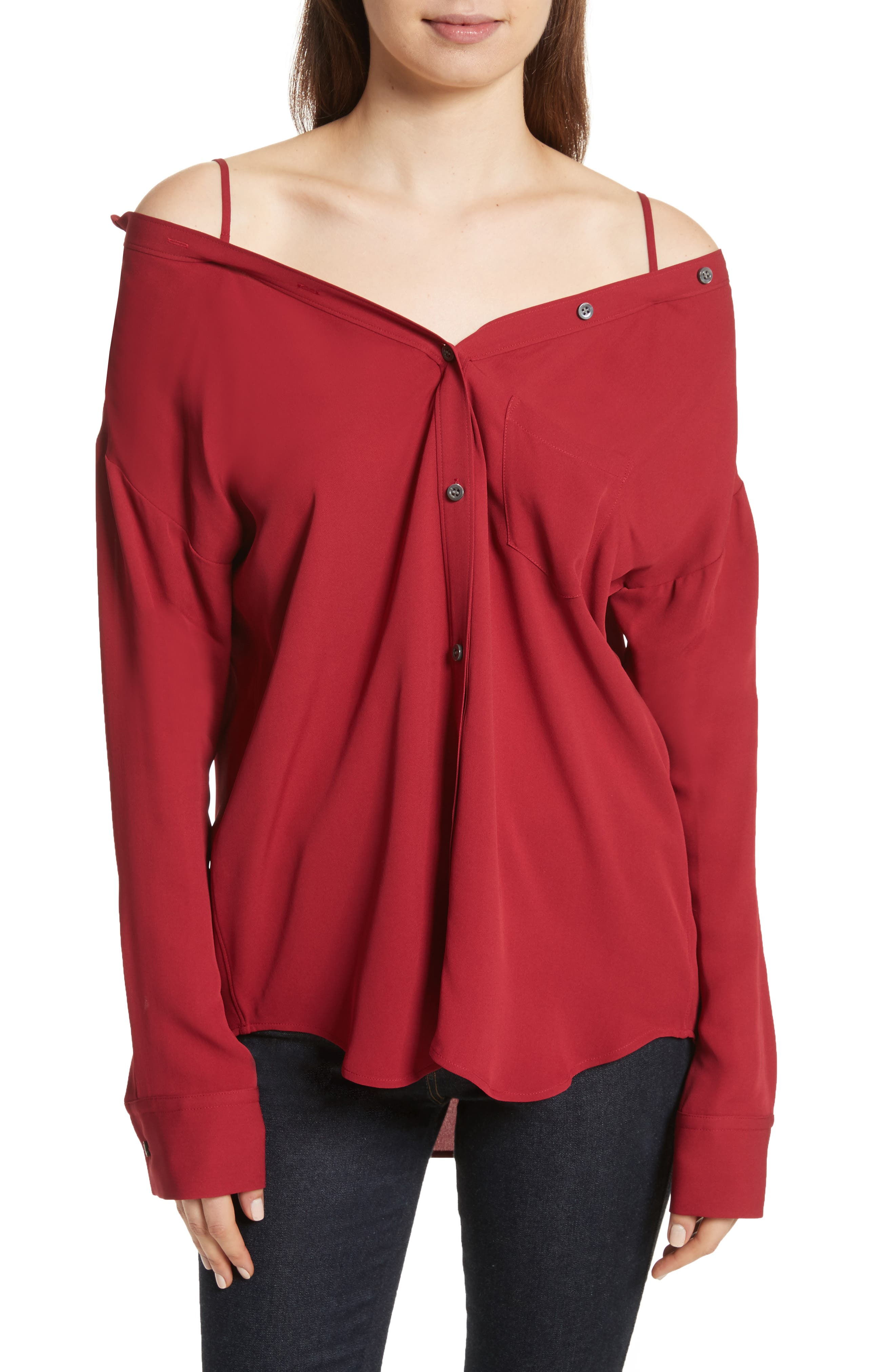 Tamalee Silk Shirt,                         Main,                         color, BRIGHT RASPBERRY