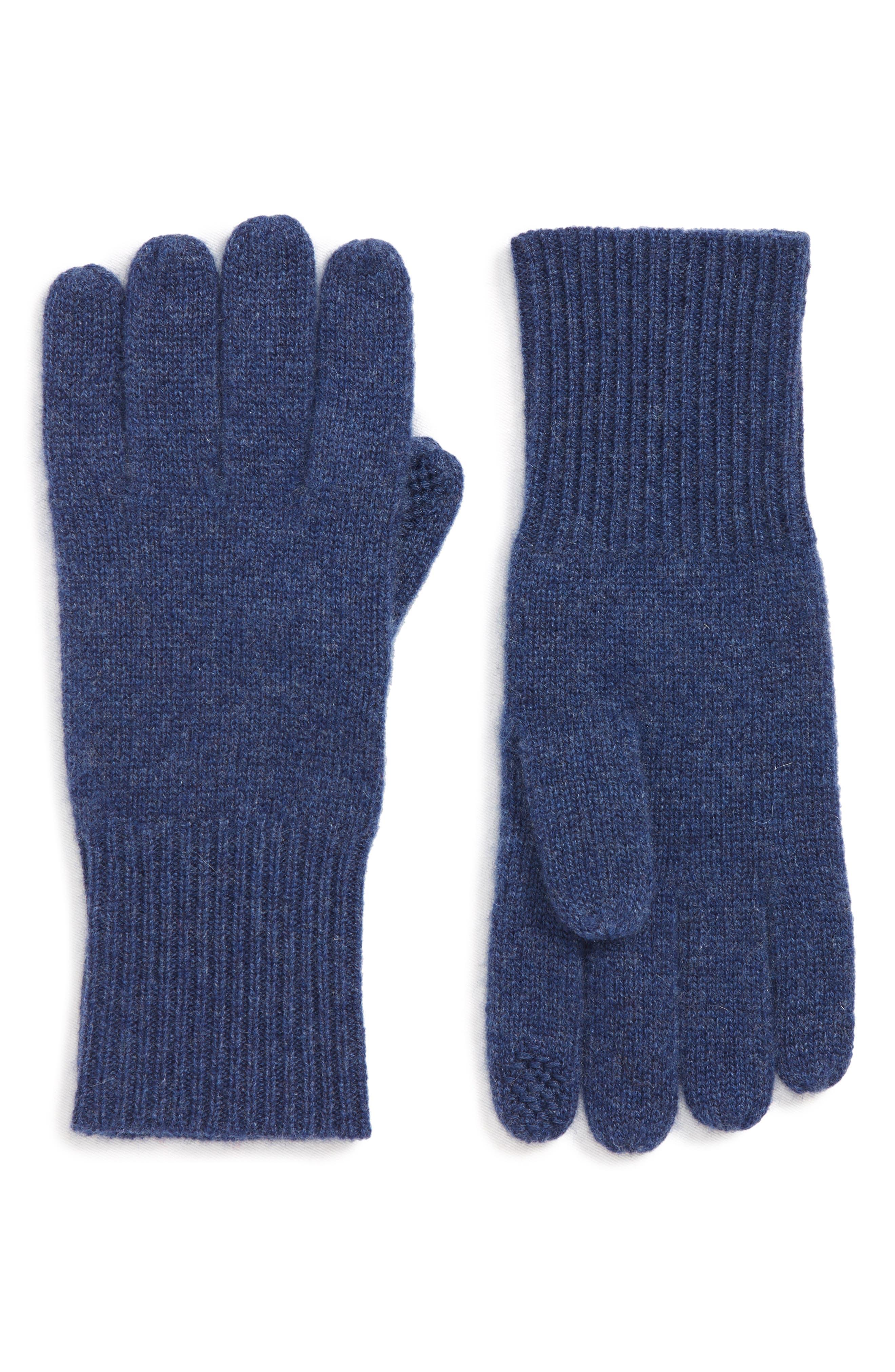 Rib Knit Cashmere Gloves,                         Main,                         color, BLUE CAPTAIN HEATHER