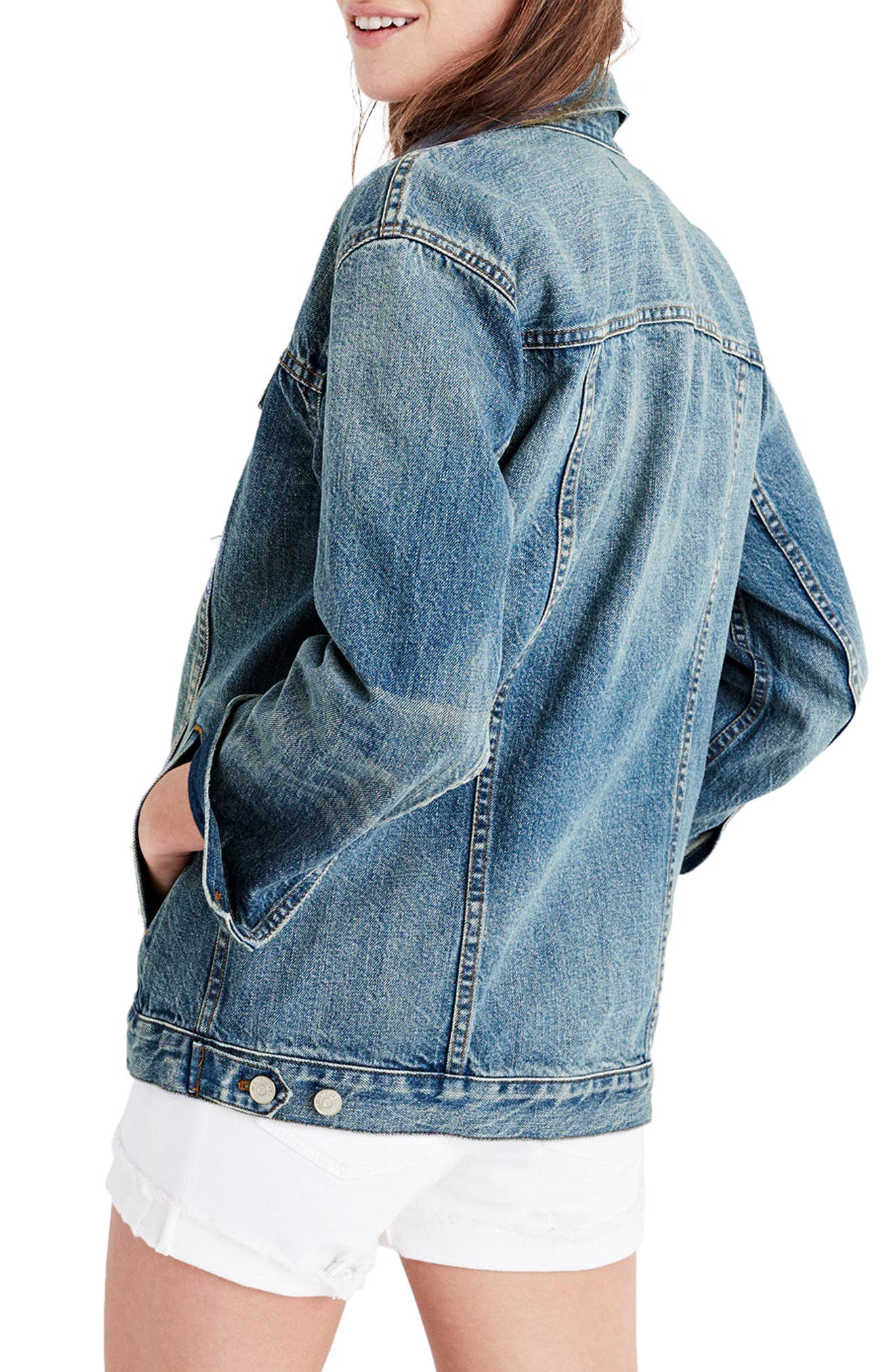 Oversize Denim Jacket,                             Alternate thumbnail 2, color,                             CAPSTONE WASH