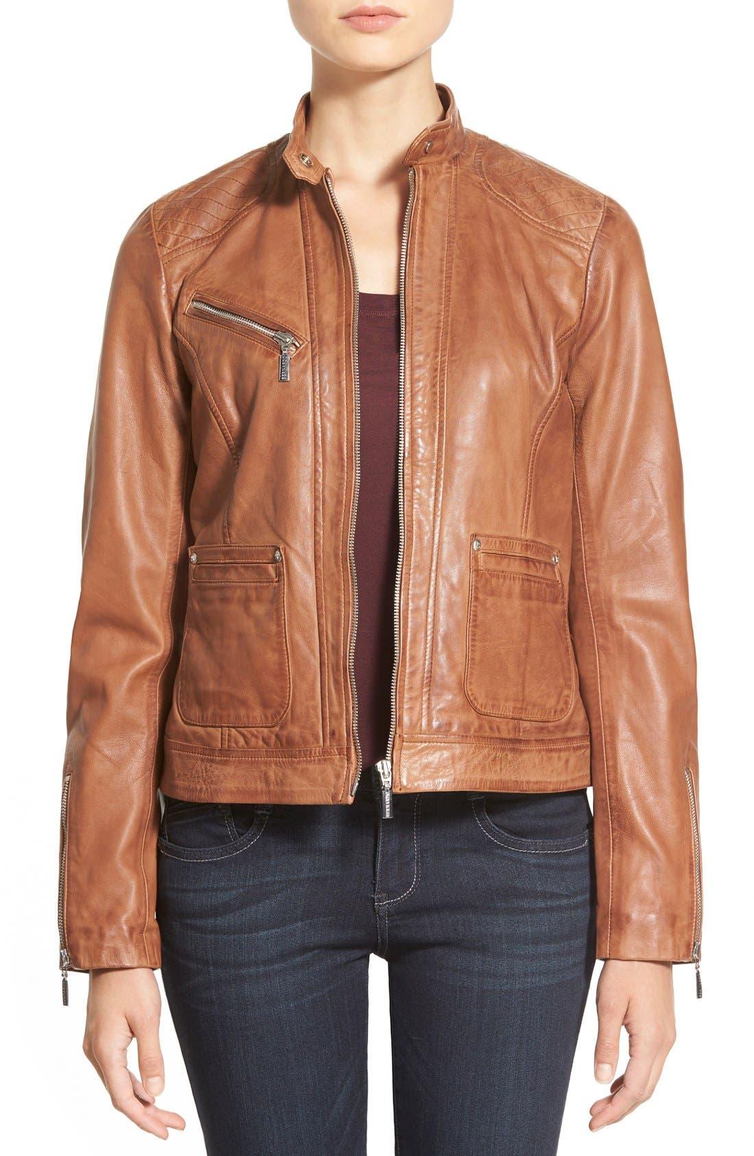 Zip Front Leather Jacket,                             Main thumbnail 2, color,