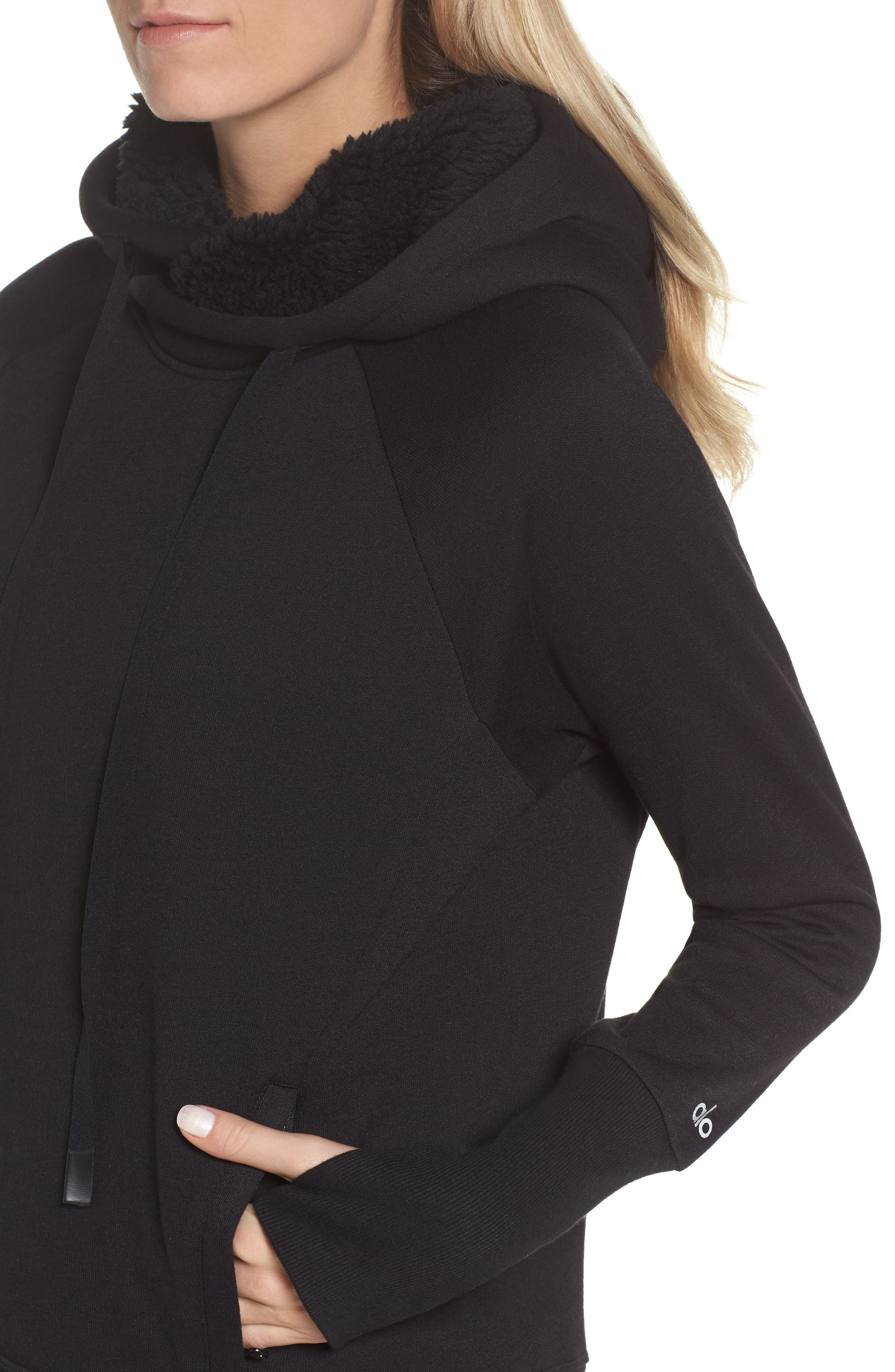 Frost Faux Shearling Lined Hoodie,                             Alternate thumbnail 4, color,                             001