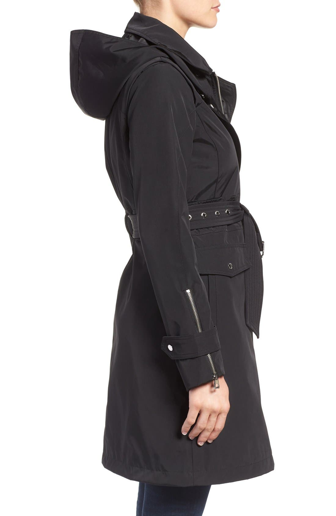 Hooded Trench Coat,                             Alternate thumbnail 3, color,                             001
