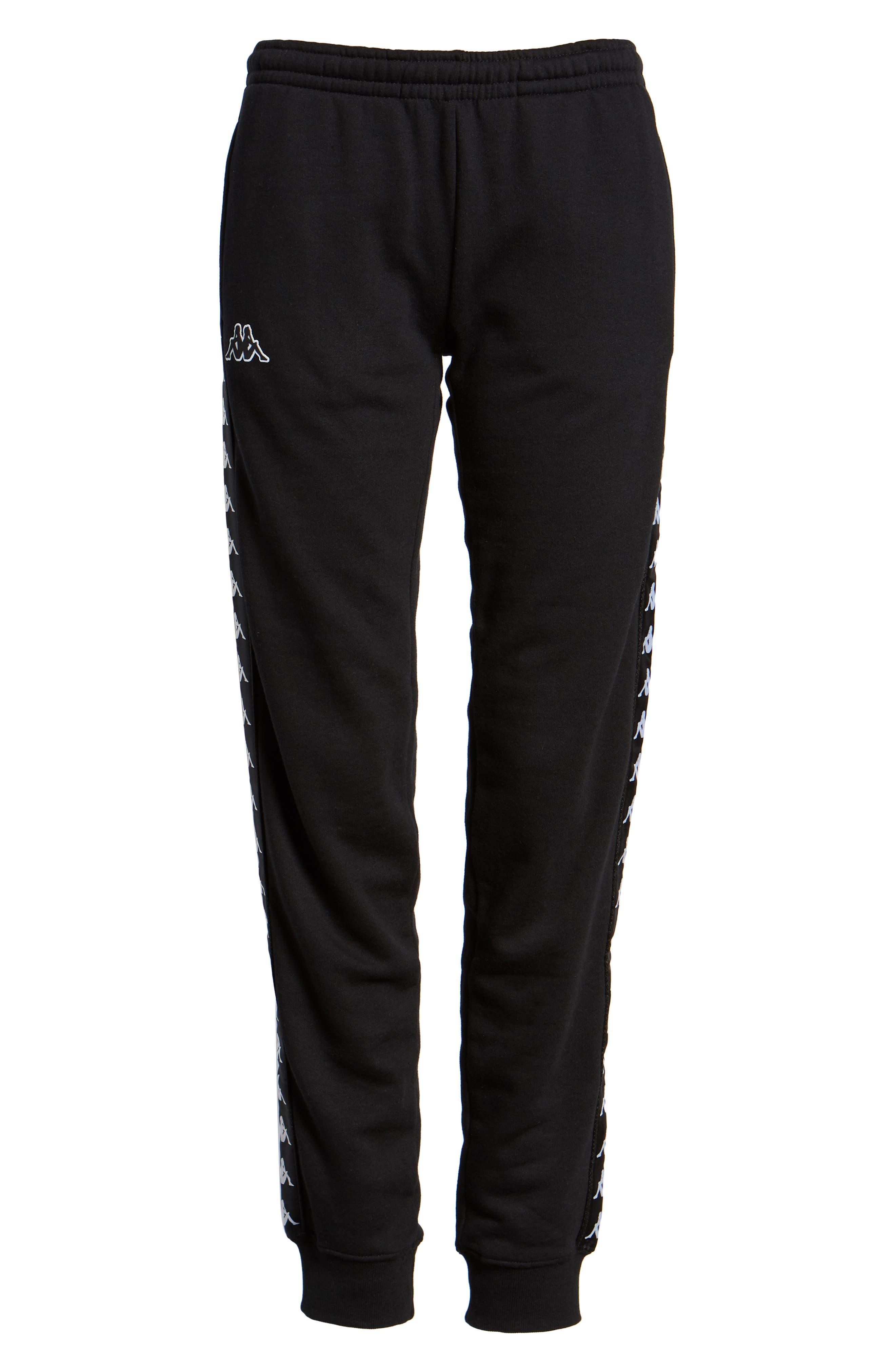 Logo Slim Fleece Pants,                             Alternate thumbnail 7, color,                             BLACK-WHITE