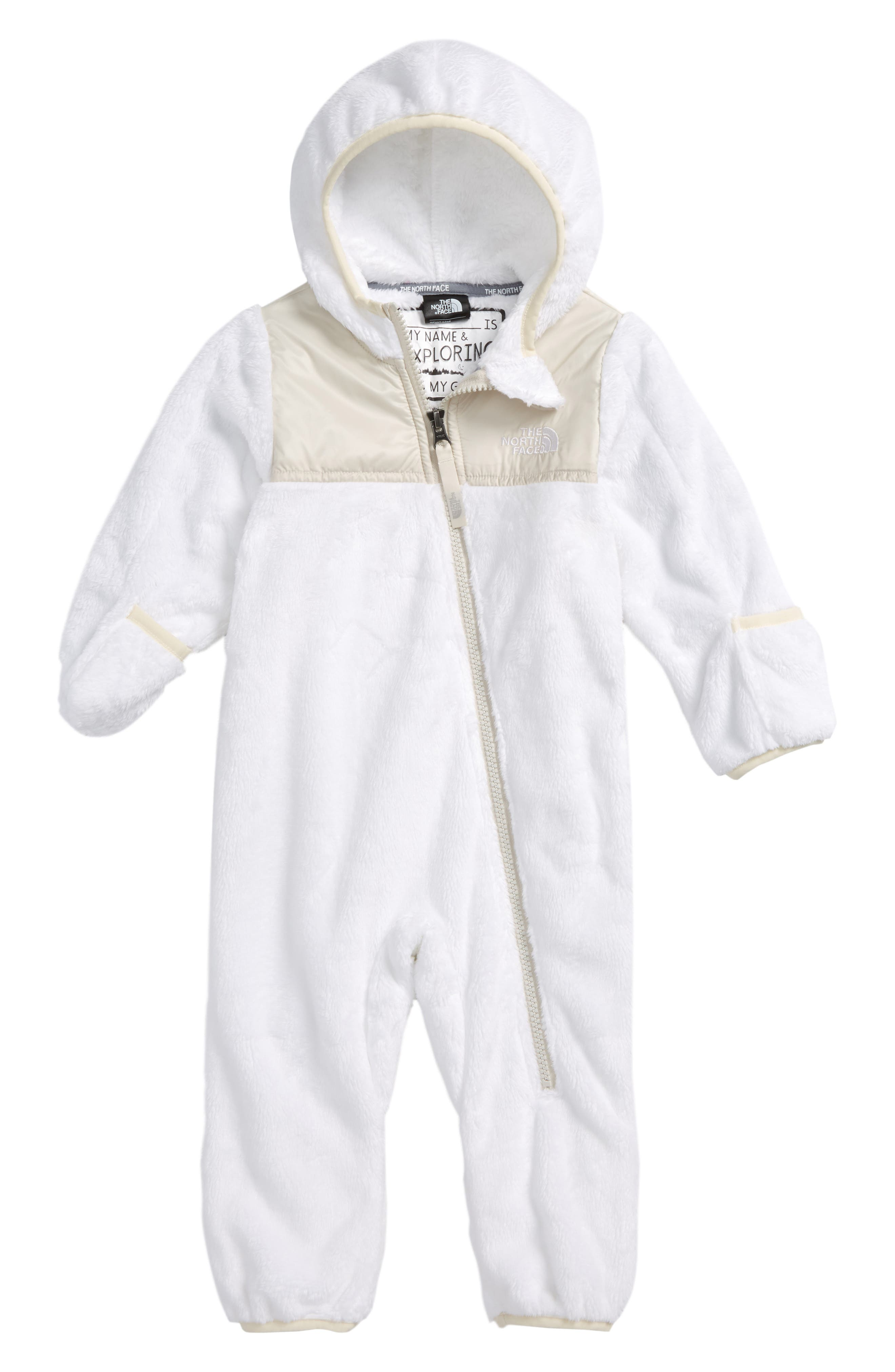 THE NORTH FACE,                             Oso Hooded Fleece Romper,                             Main thumbnail 1, color,                             100