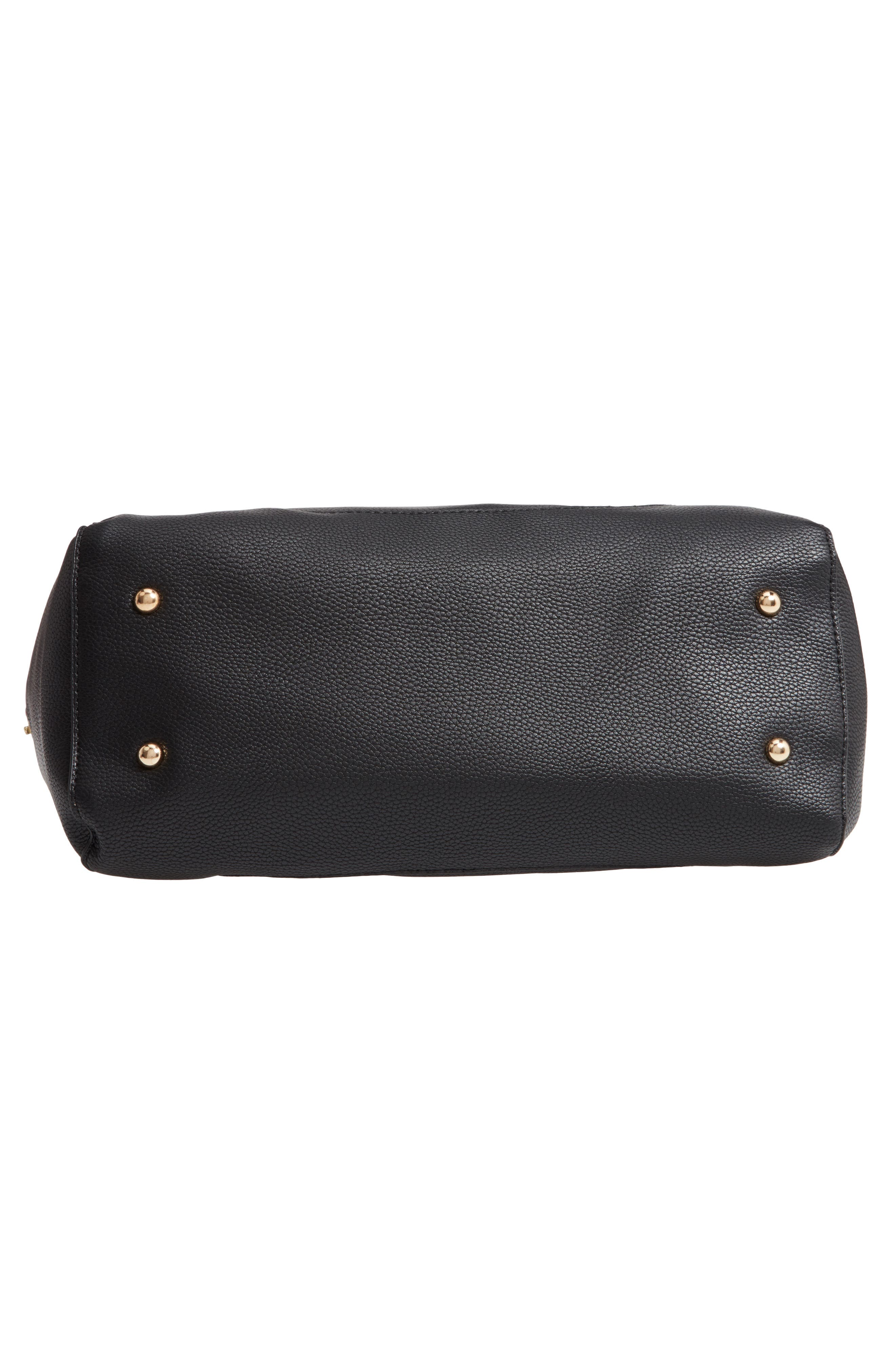 Faux Leather Satchel,                             Alternate thumbnail 6, color,                             BLACK