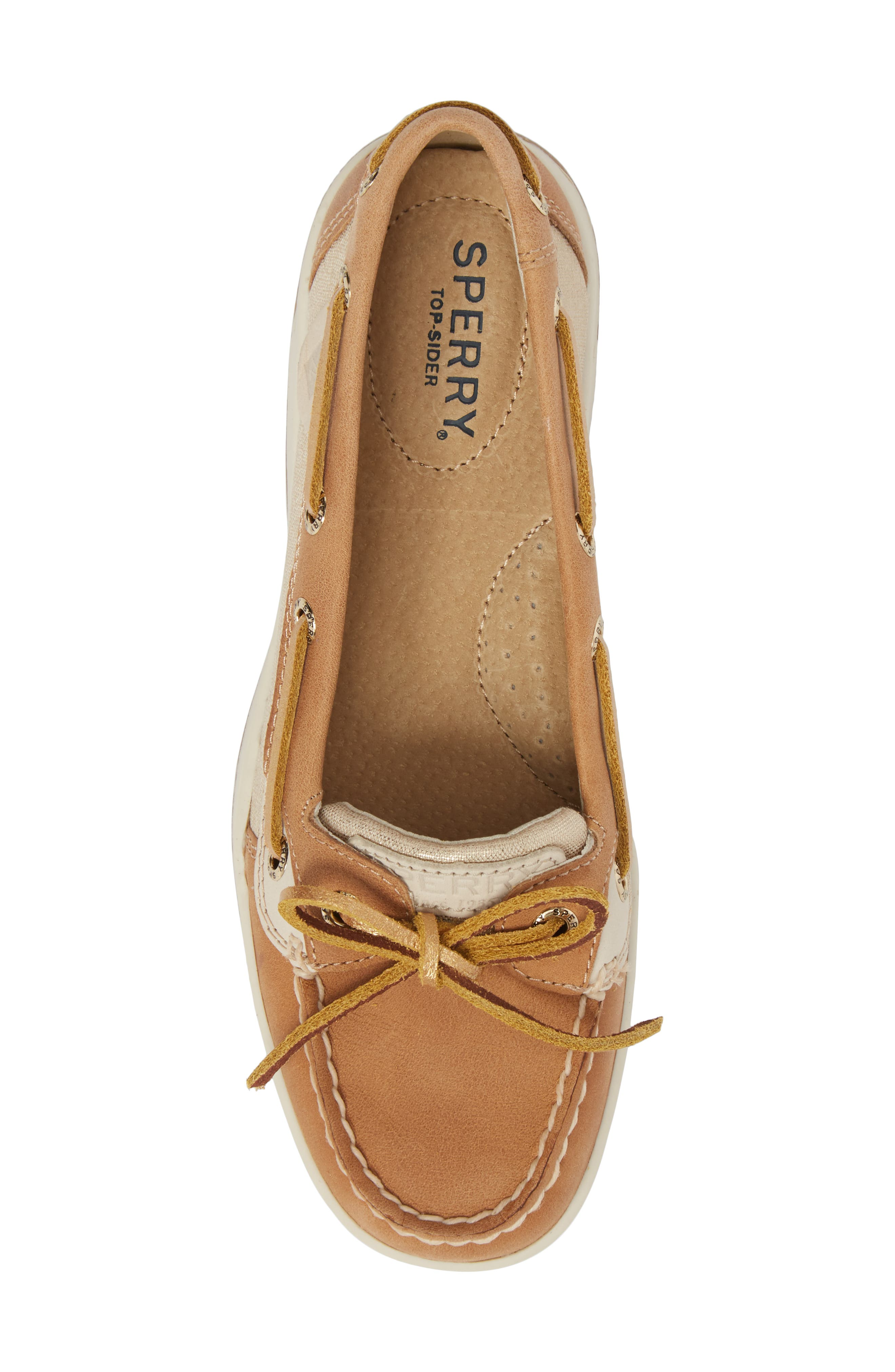 'Angelfish' Boat Shoe,                             Alternate thumbnail 5, color,                             LINEN METALLIC LEATHER