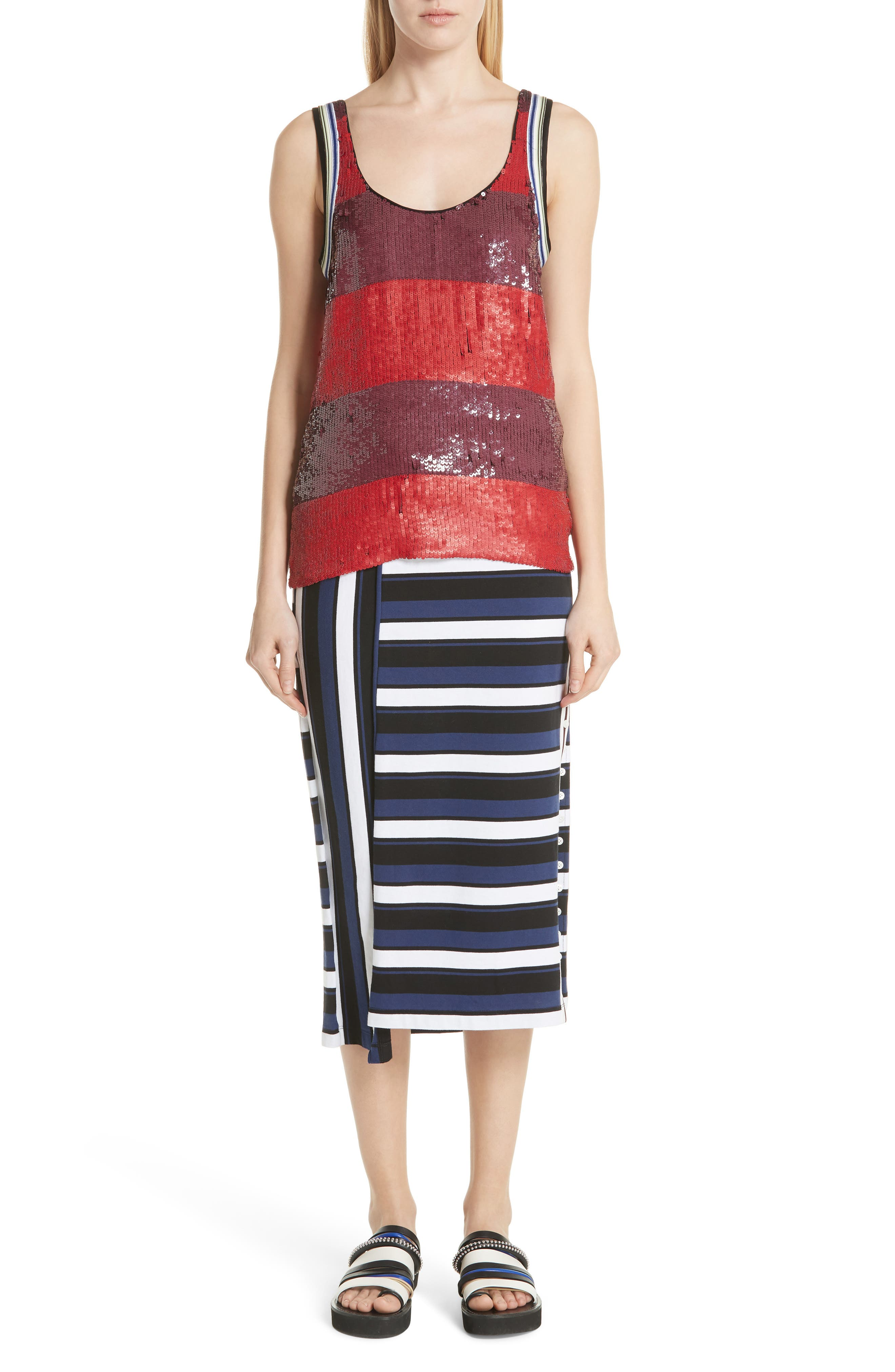 Stripe Maxi Skirt,                             Alternate thumbnail 7, color,                             003