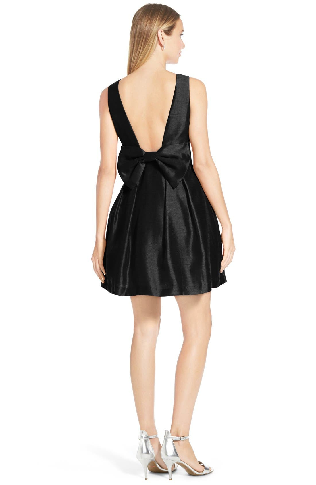Bow Back Fit & Flare Dress,                             Main thumbnail 1, color,                             001