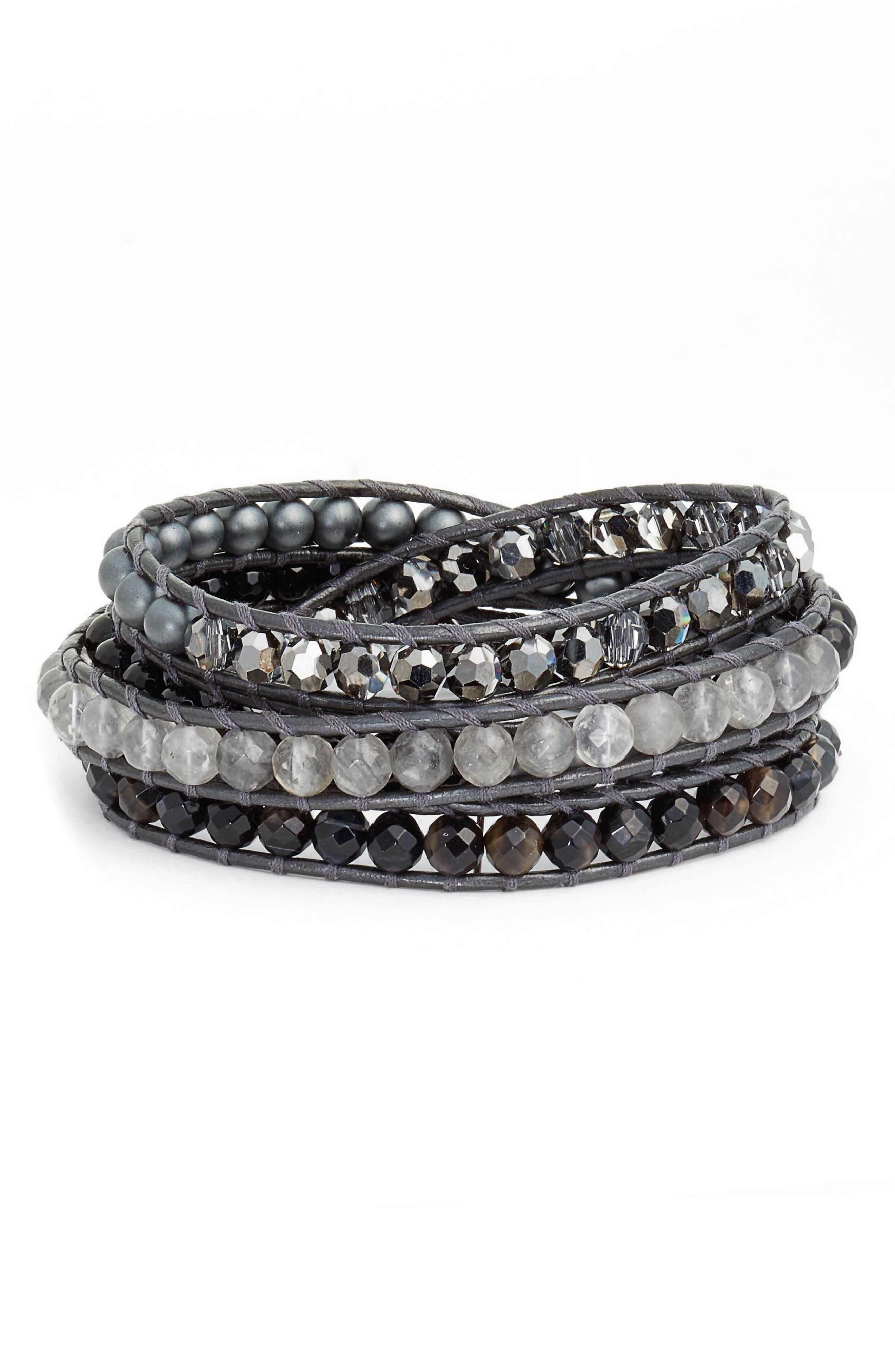Semiprecious Stone Wrap Bracelet,                         Main,                         color,