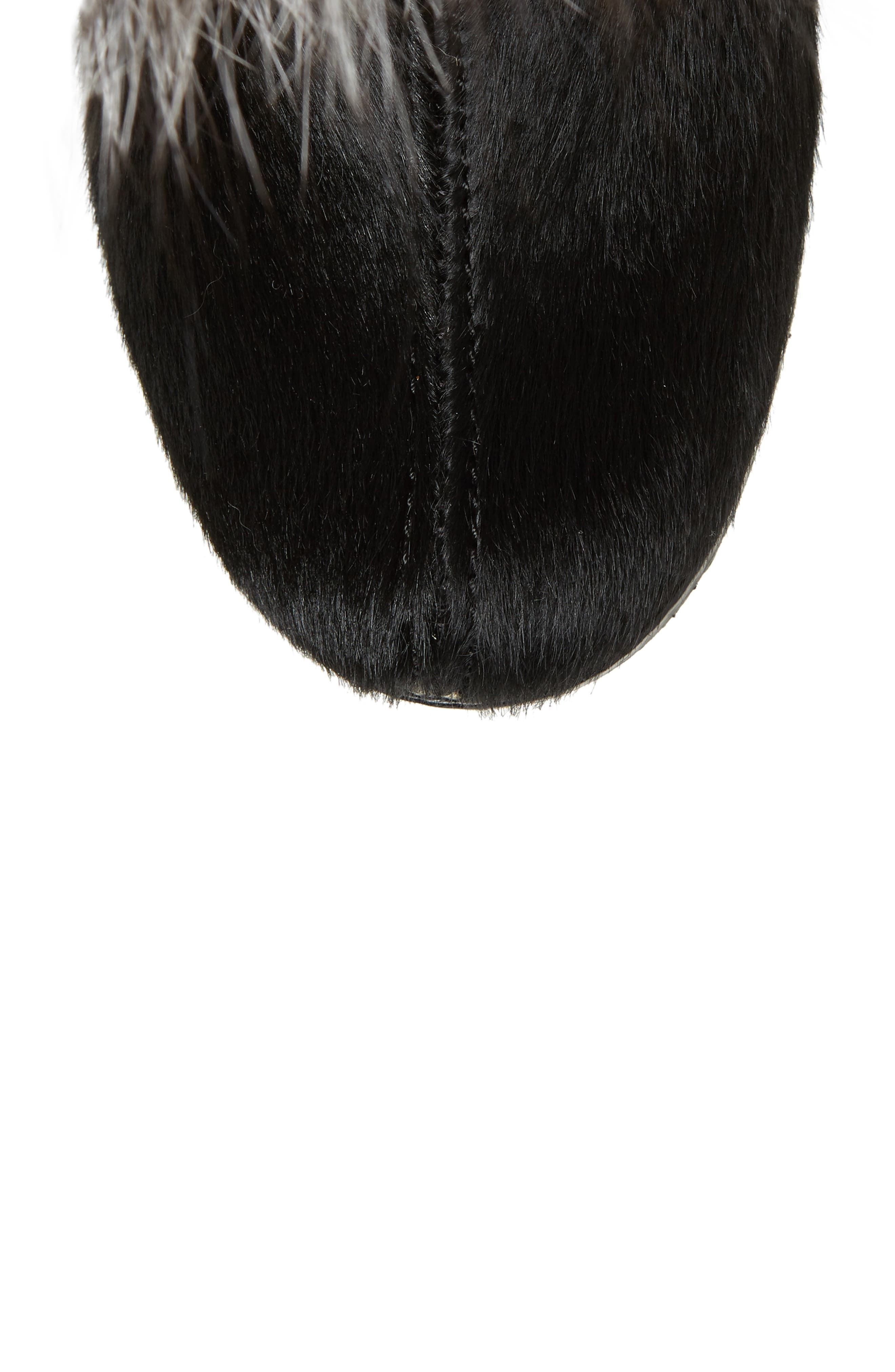 Angelina Genuine Fox Fur Wedge Boot,                             Alternate thumbnail 5, color,                             001