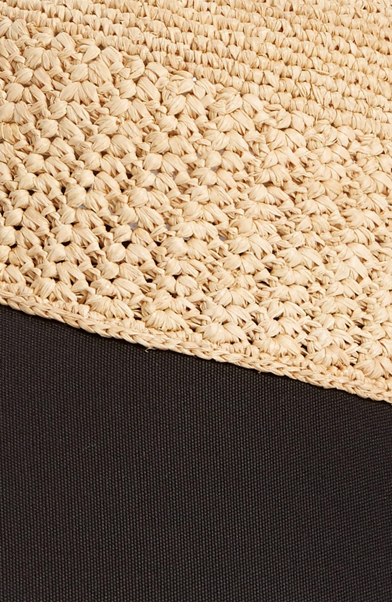 Wide Peak Raffia & Cotton Cap,                             Alternate thumbnail 2, color,                             NATURAL/ BLACK