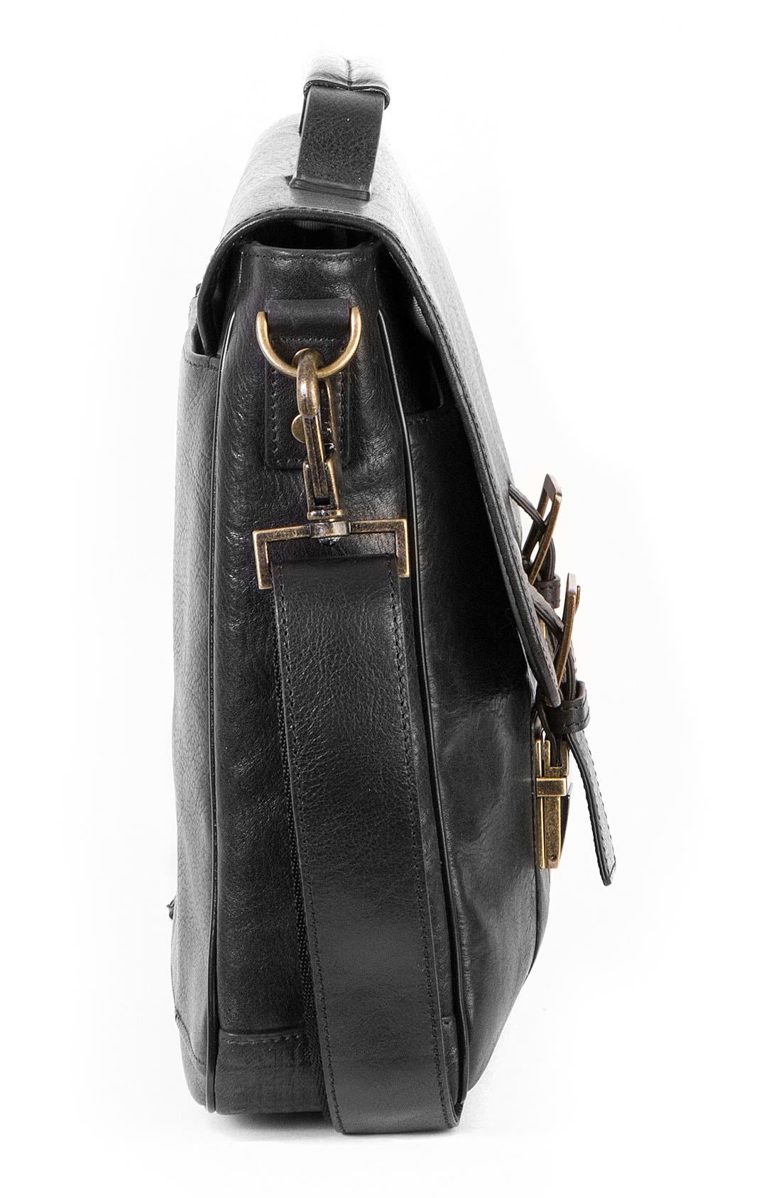 'Becker' Leather Messenger Bag,                             Alternate thumbnail 4, color,                             BLACK W/ KHAKI