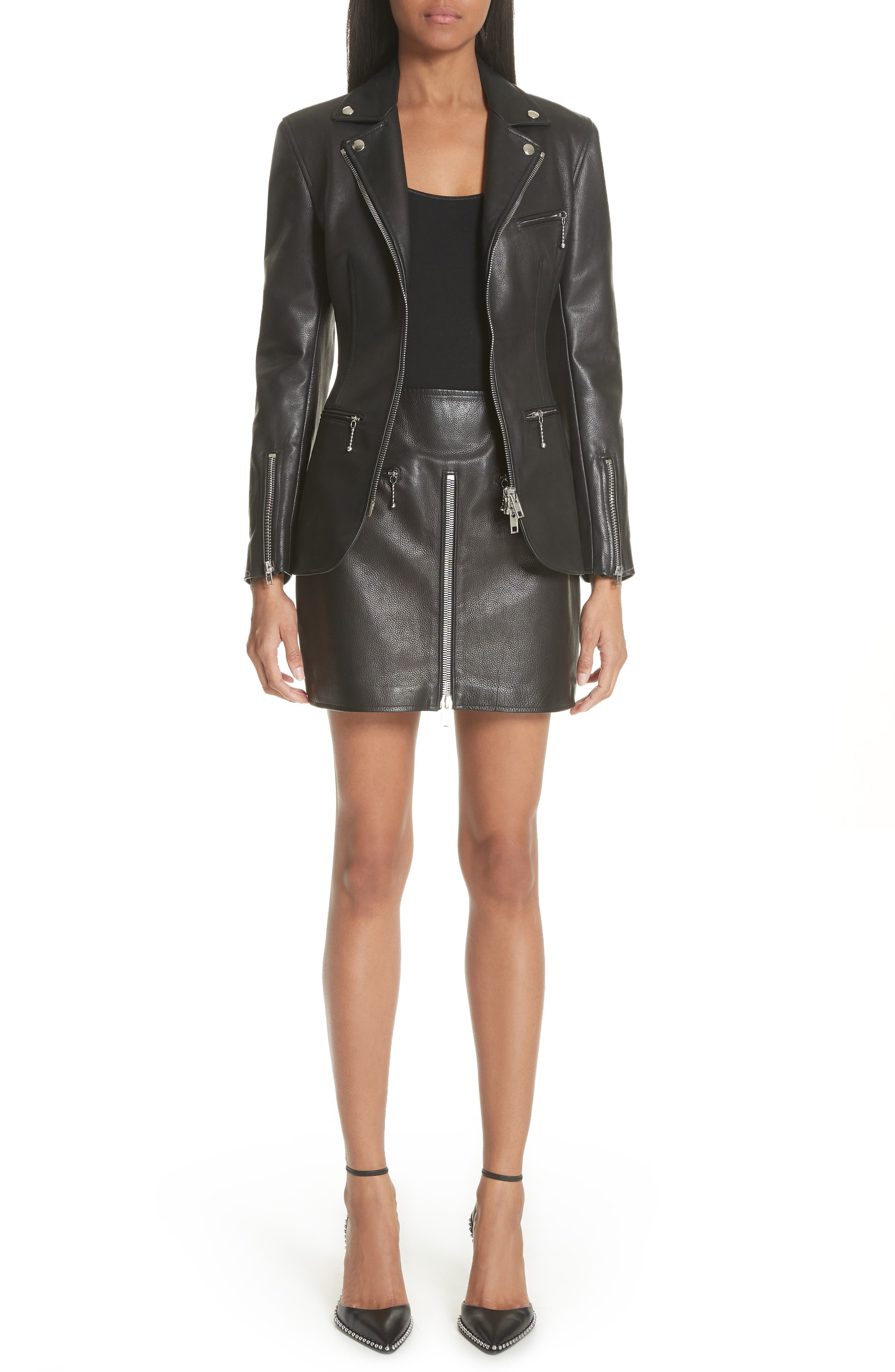Zip Front Leather Blazer,                             Alternate thumbnail 8, color,                             BLACK