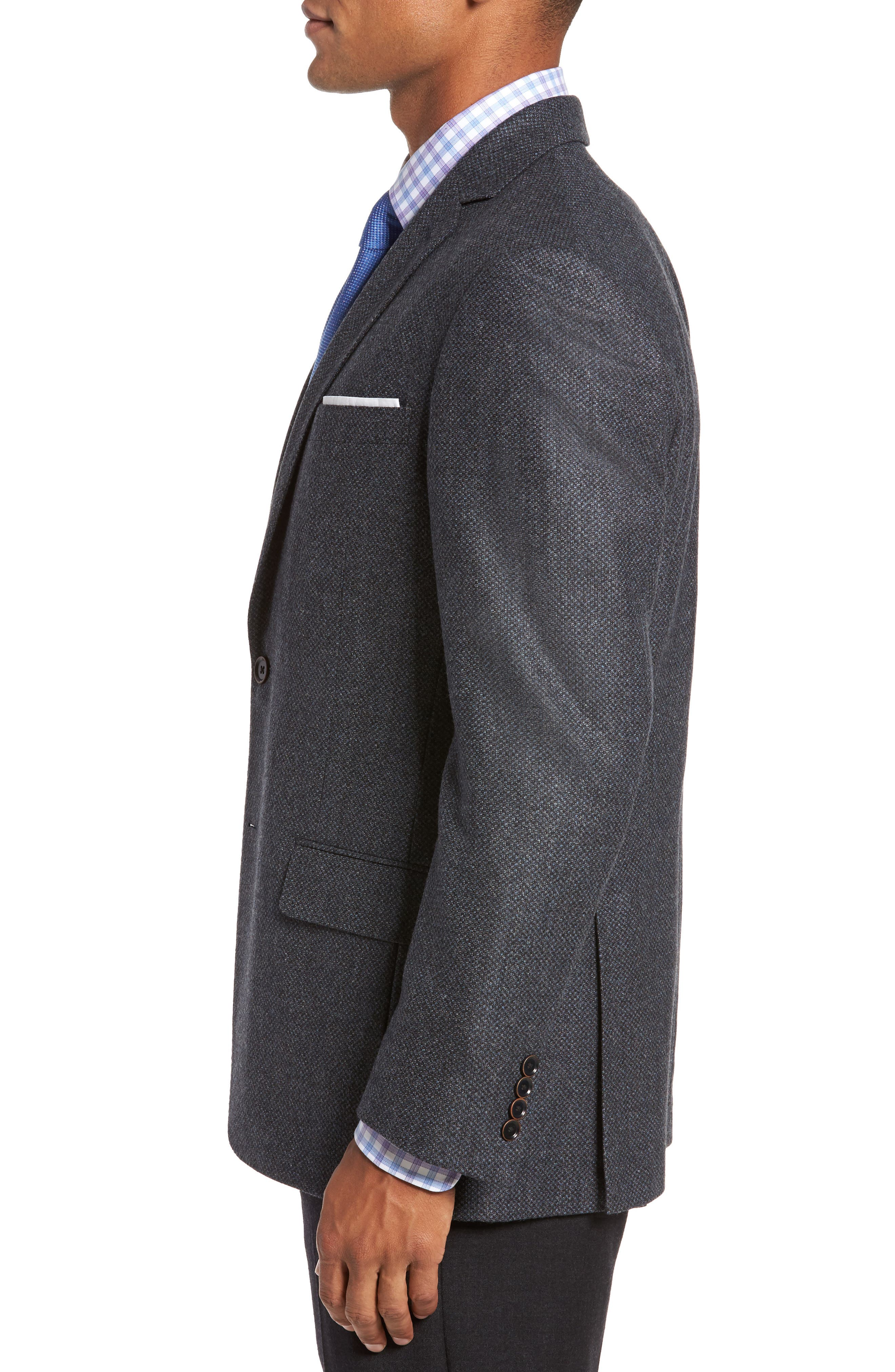 Classic Fit Check Wool Sport Coat,                             Alternate thumbnail 3, color,                             401