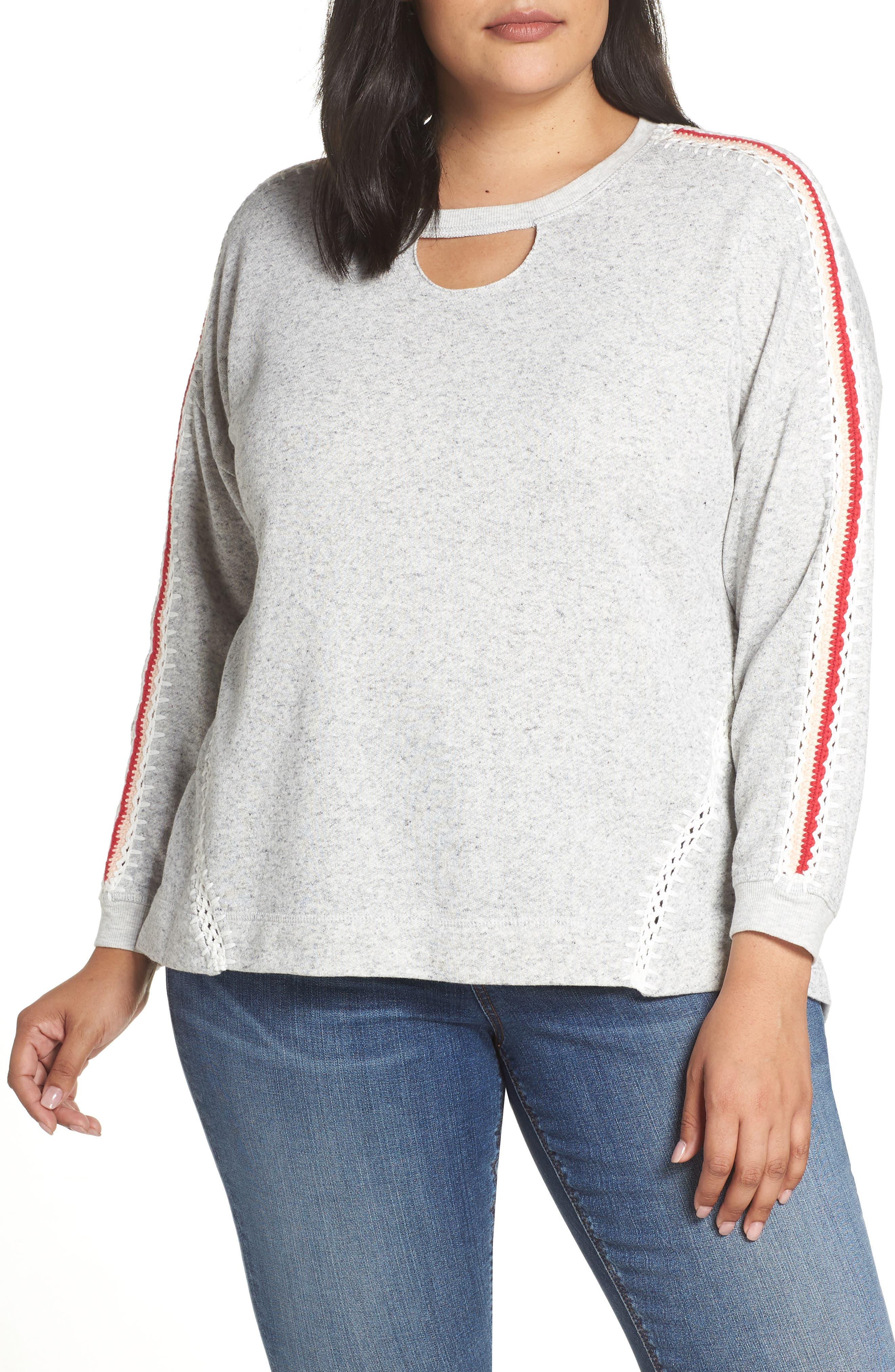 Plus Size Wit & Wisdom Notch Neck Pullover, Grey