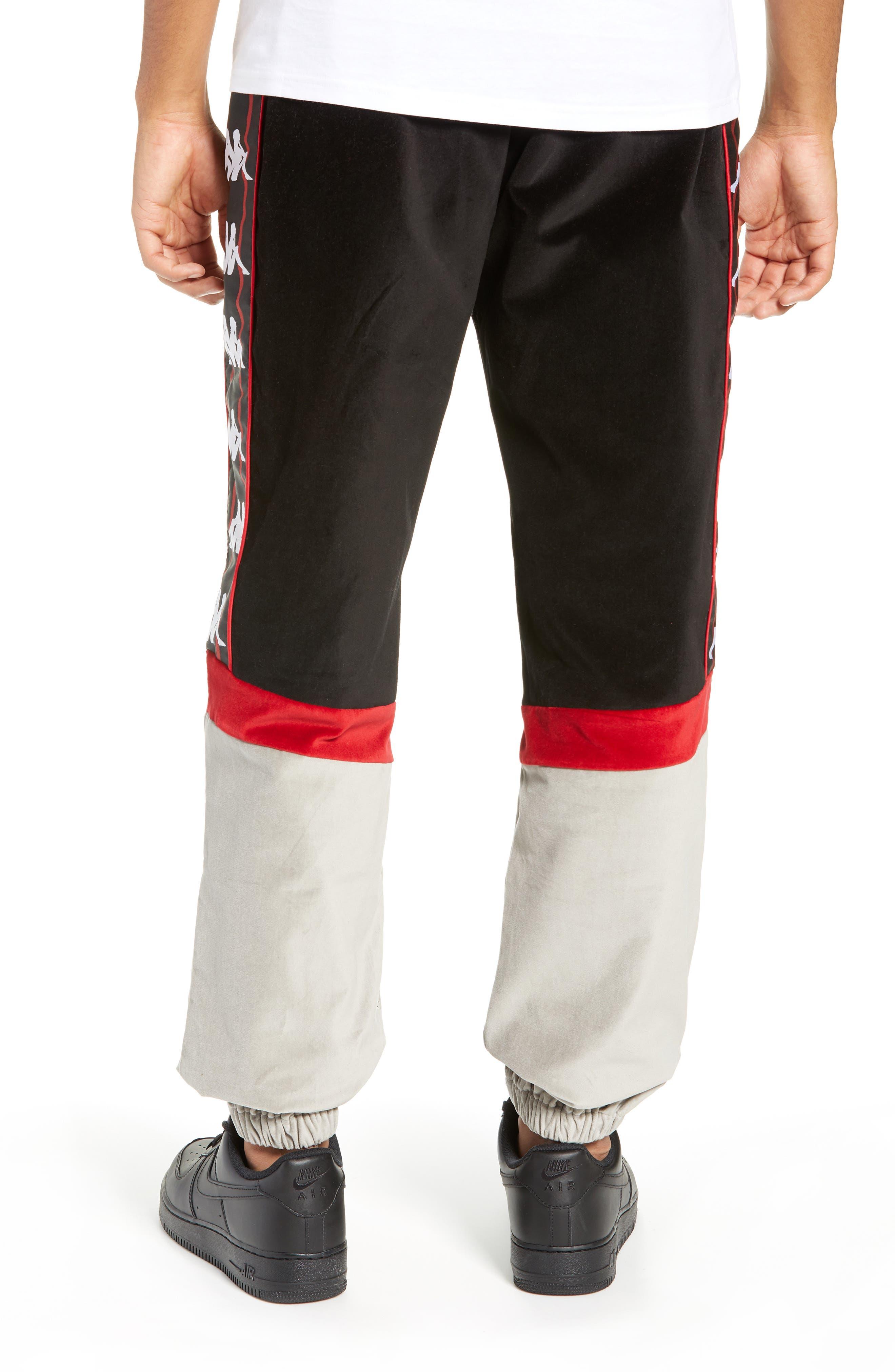 Authentic Serena Cotton Velour Track Pants,                             Alternate thumbnail 2, color,                             BLACK/ RED/ GREY