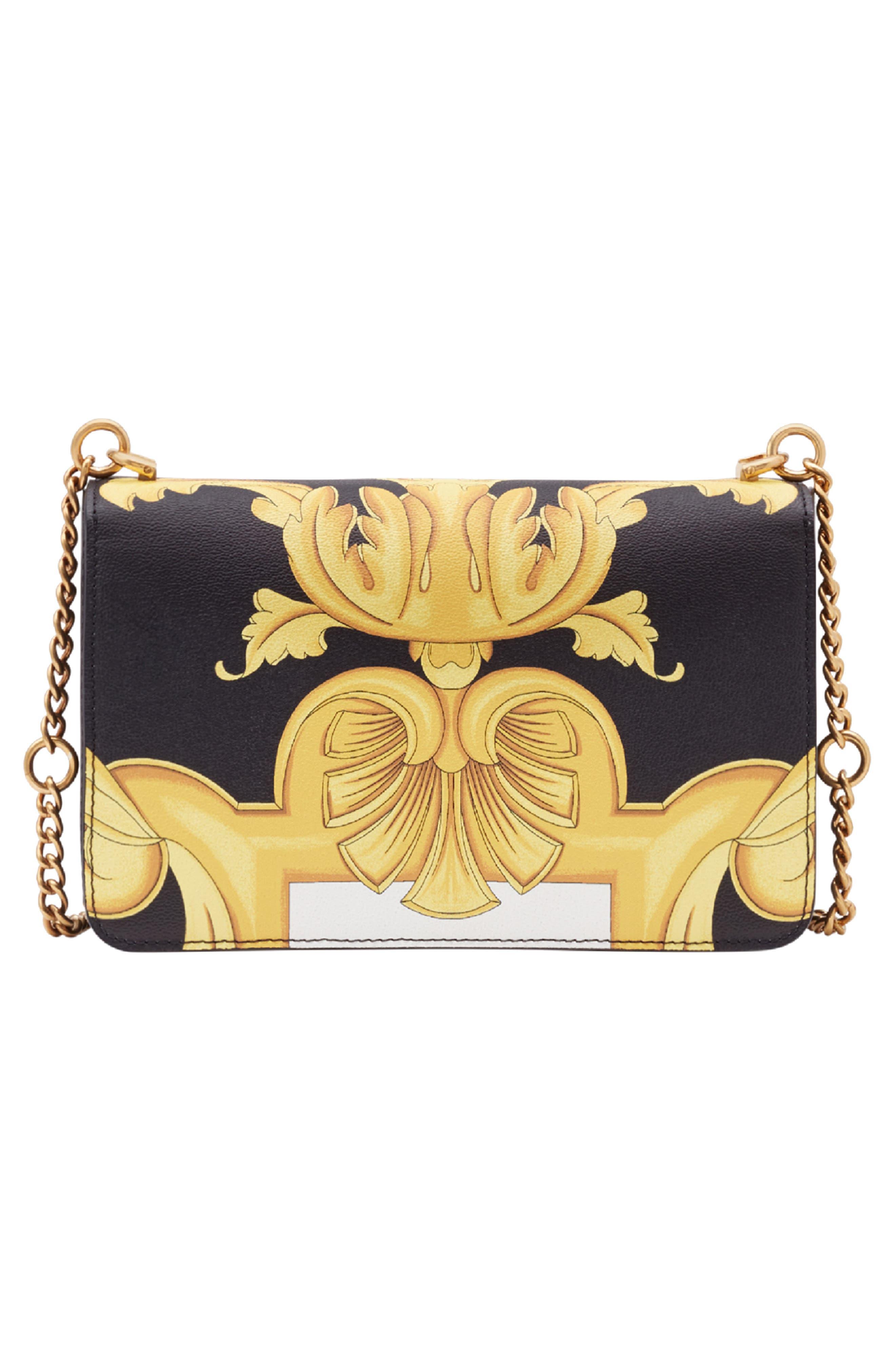 Baroque Print Medium Icon Leather Crossbody Bag,                             Alternate thumbnail 2, color,                             011