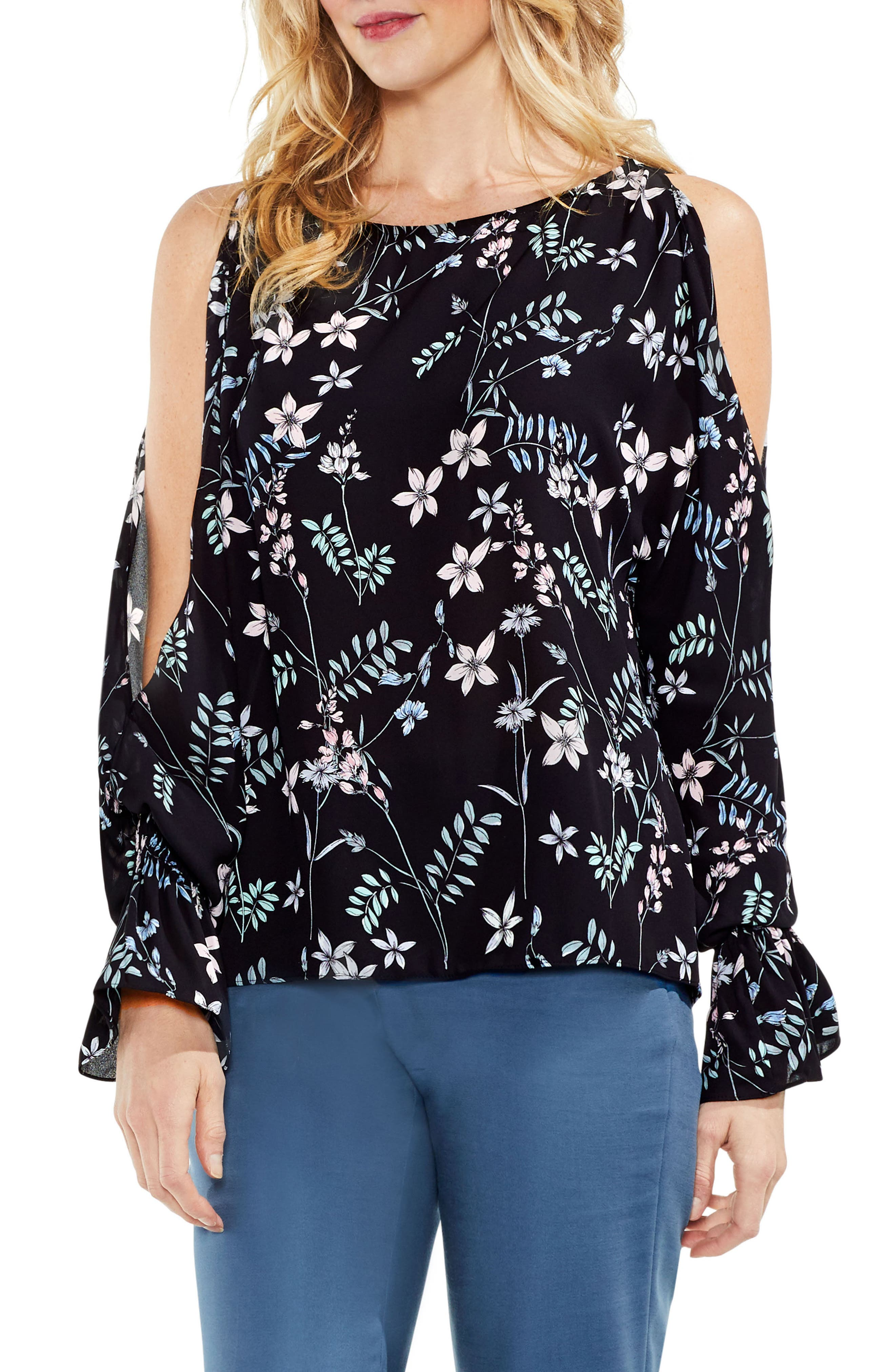 Flare Cuff Cold Shoulder Floral Top,                         Main,                         color,