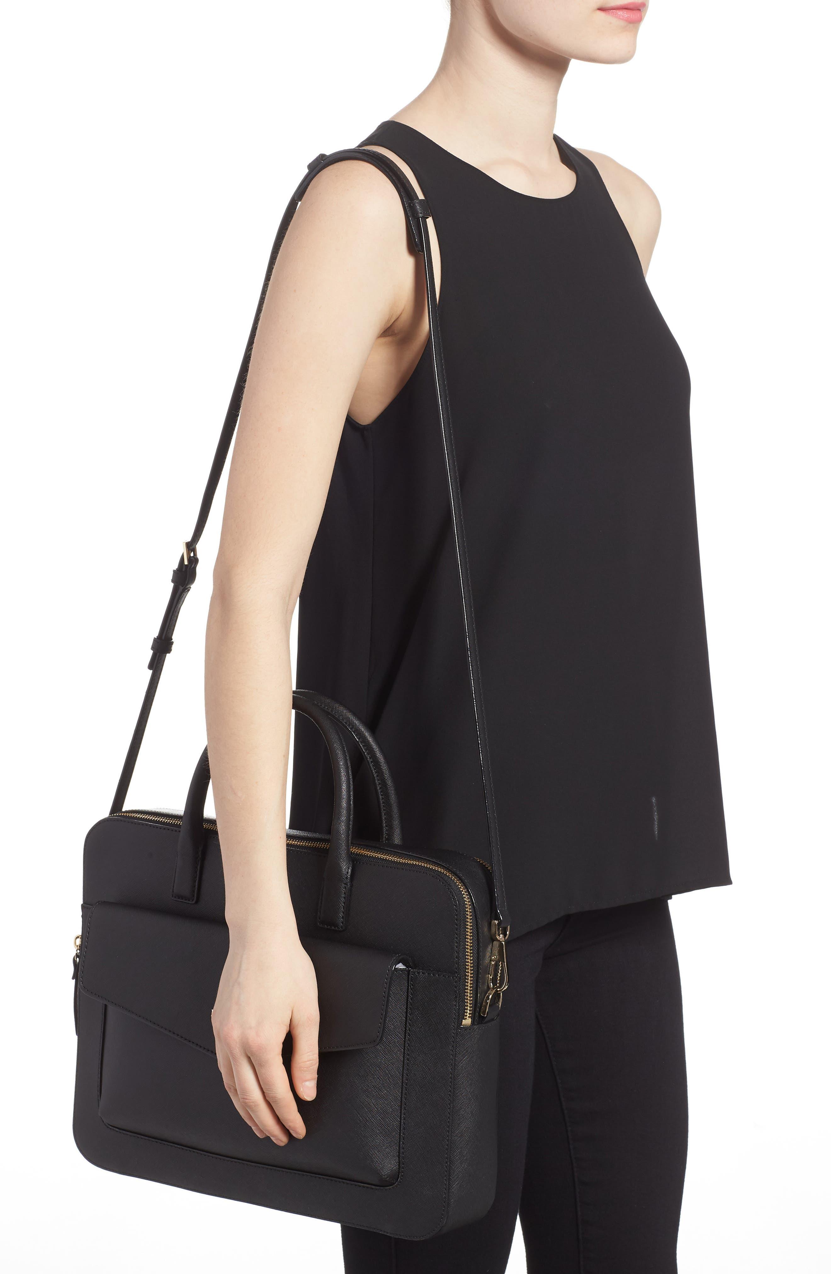 KATE SPADE NEW YORK,                             13-inch leather laptop bag,                             Alternate thumbnail 2, color,                             BLACK