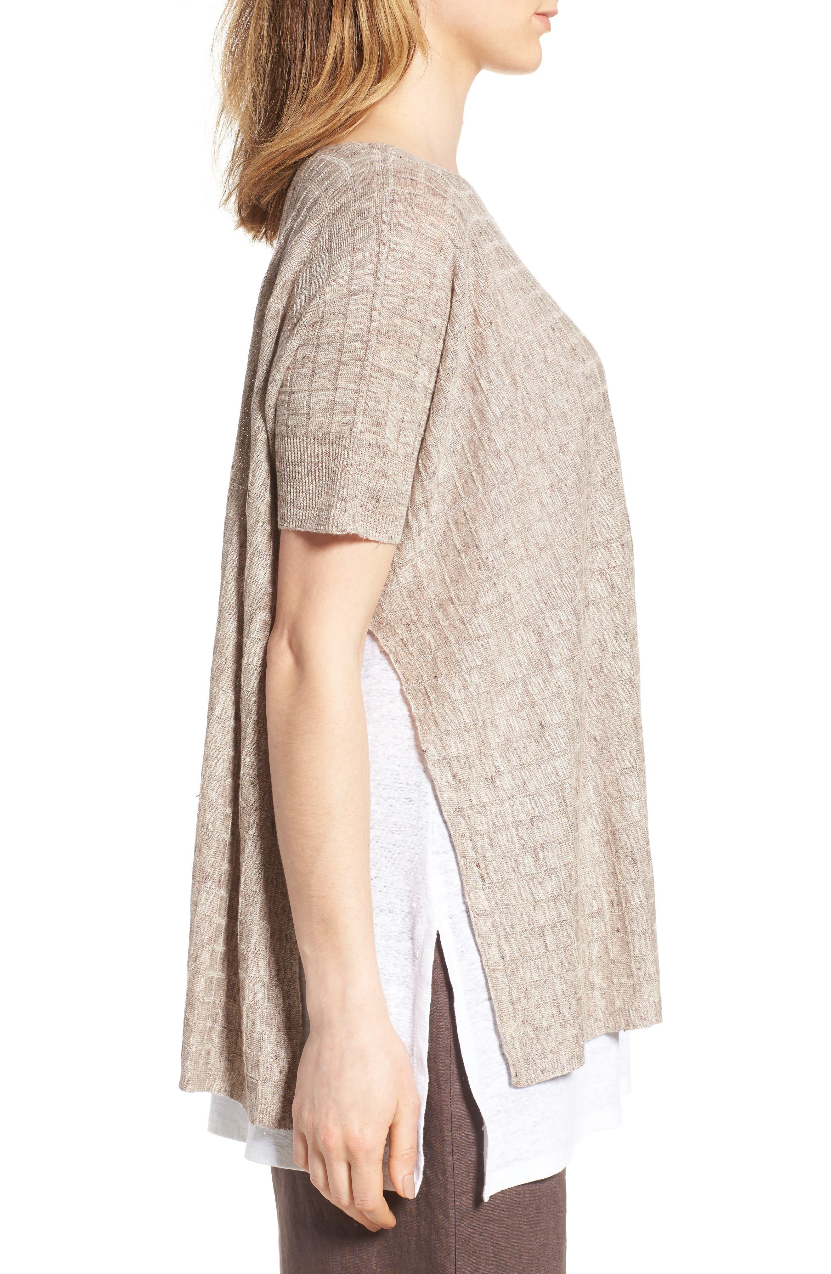 Linen Side Slit Sweater,                             Alternate thumbnail 3, color,                             250