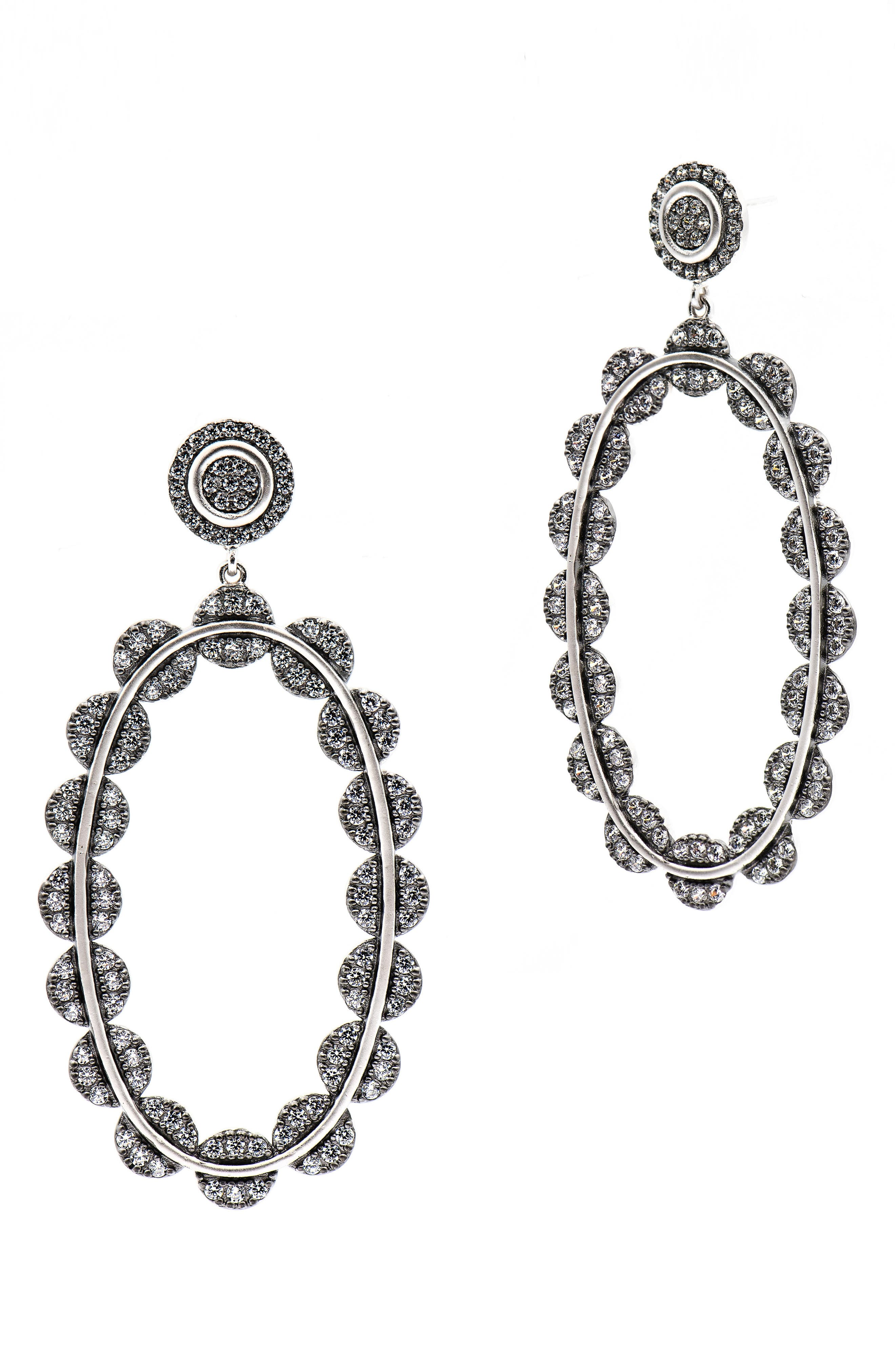 Cubic Zirconia Oval Drop Earrings,                             Main thumbnail 1, color,                             BLACK/ SILVER