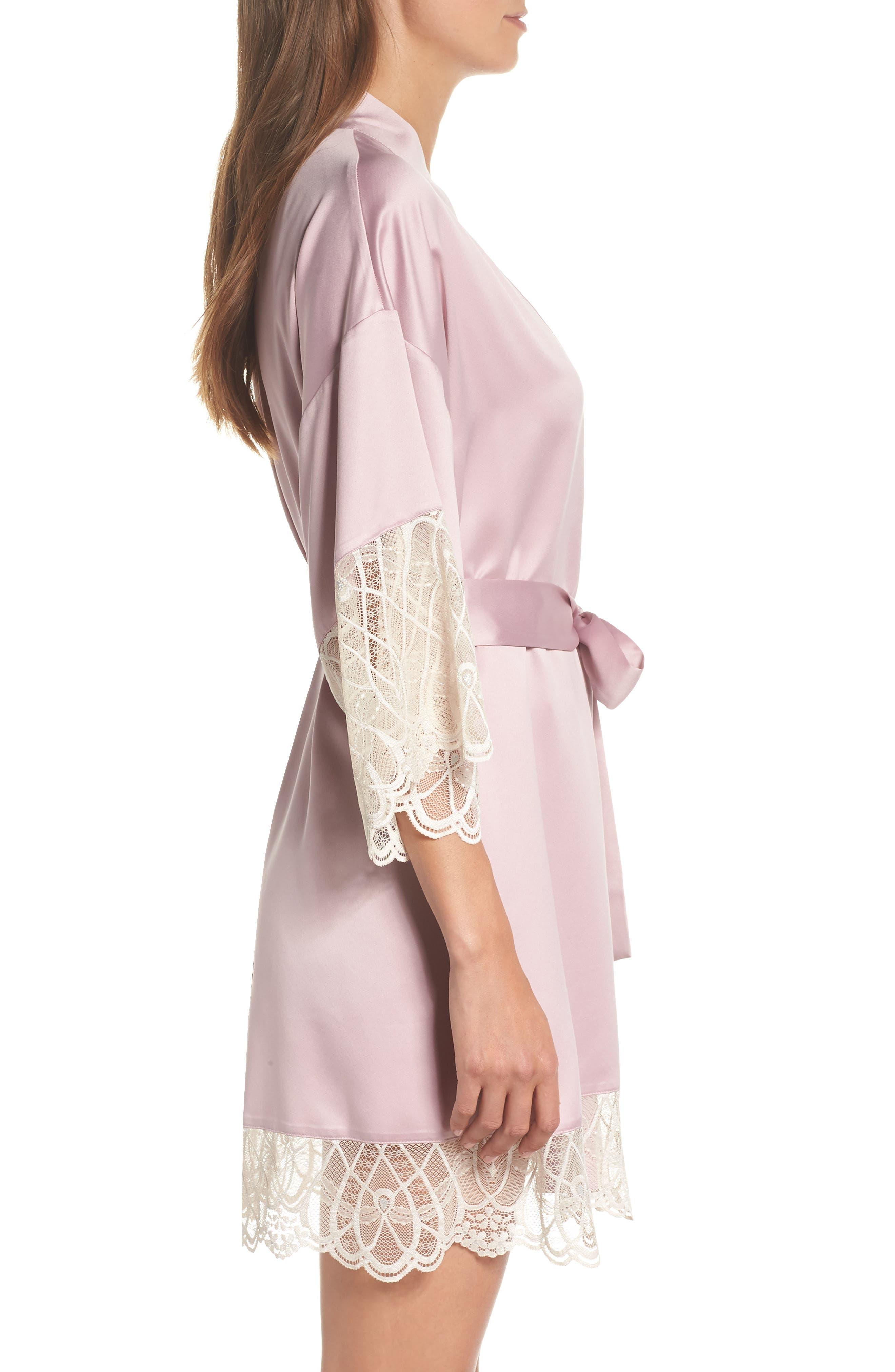 Gabby Satin Kimono Robe,                             Alternate thumbnail 3, color,                             FROSTED LILAC