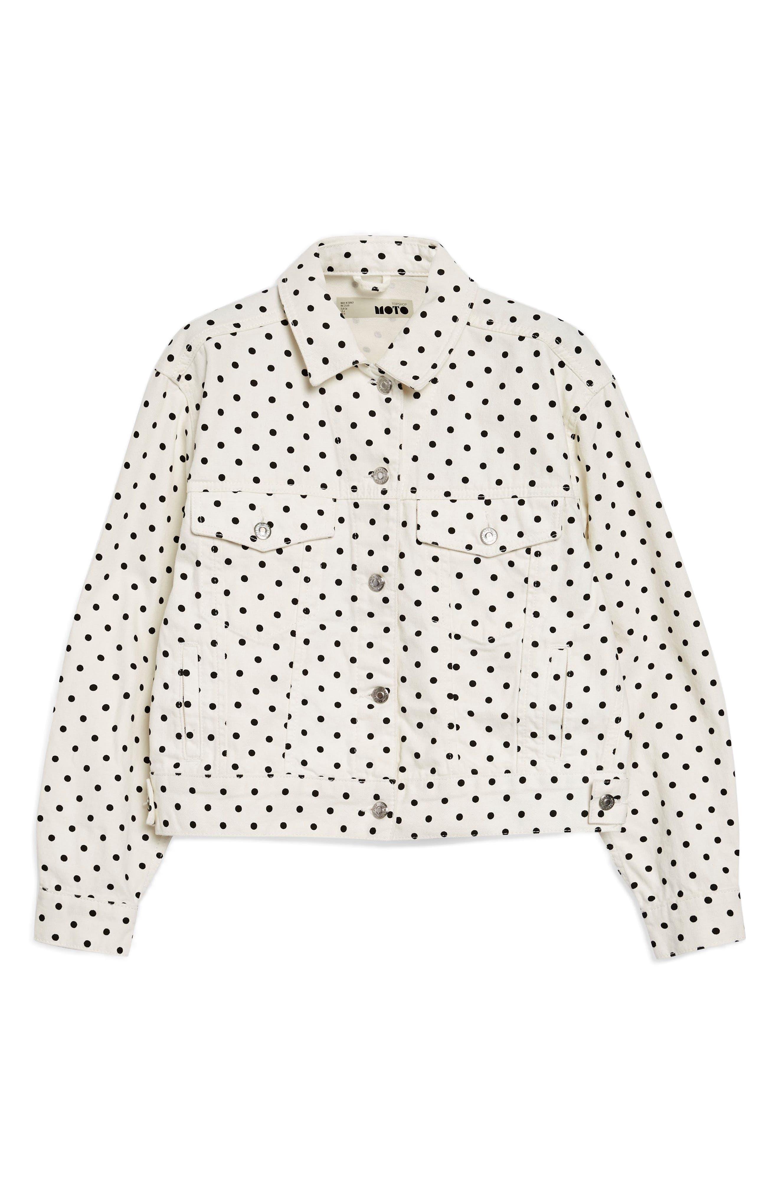 MOTO Polka Dot Crop Nonstretch Denim Jacket,                             Alternate thumbnail 4, color,