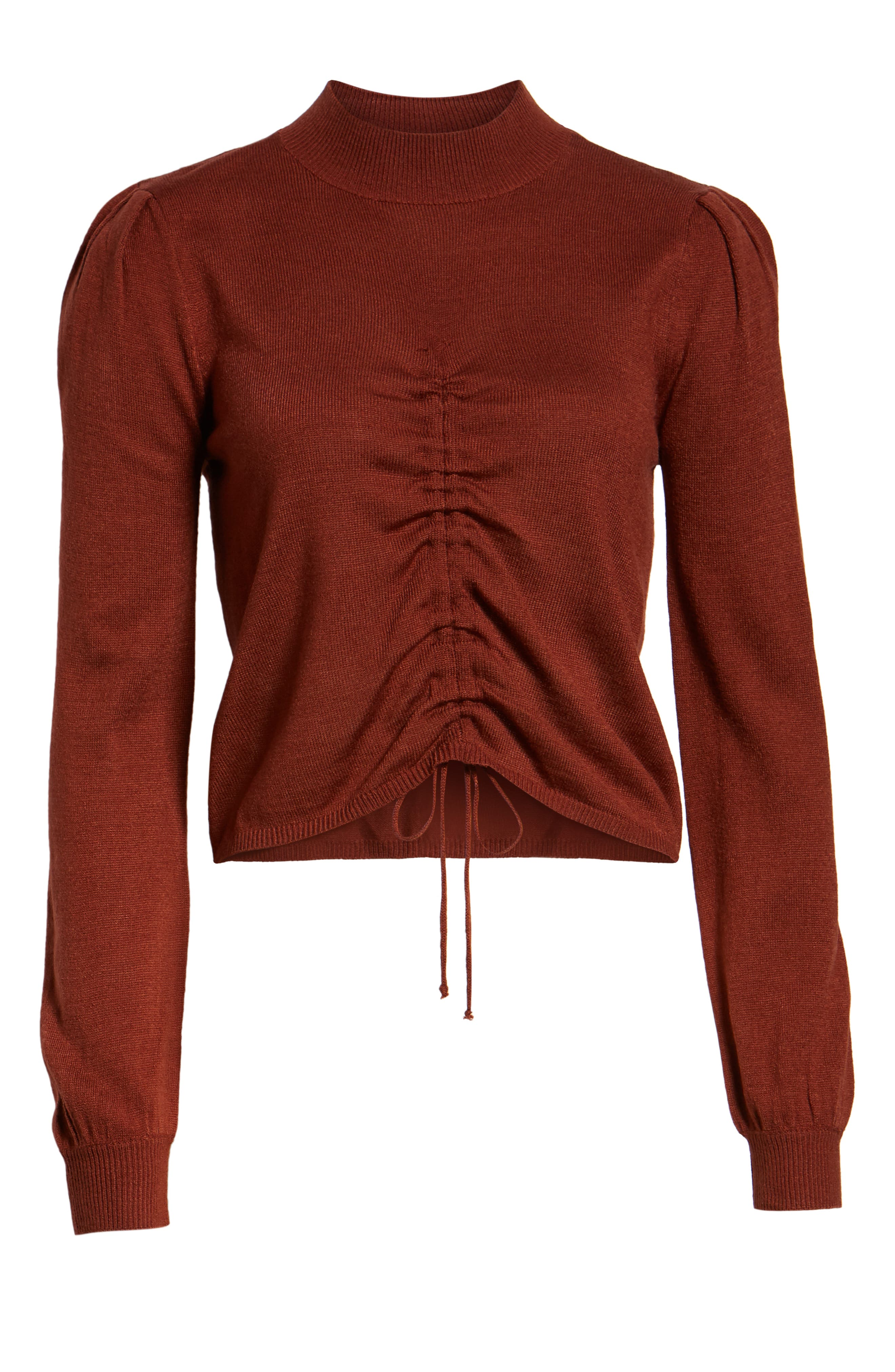 Chriselle Lim Madison Ruched Sweater,                             Alternate thumbnail 7, color,                             RUST