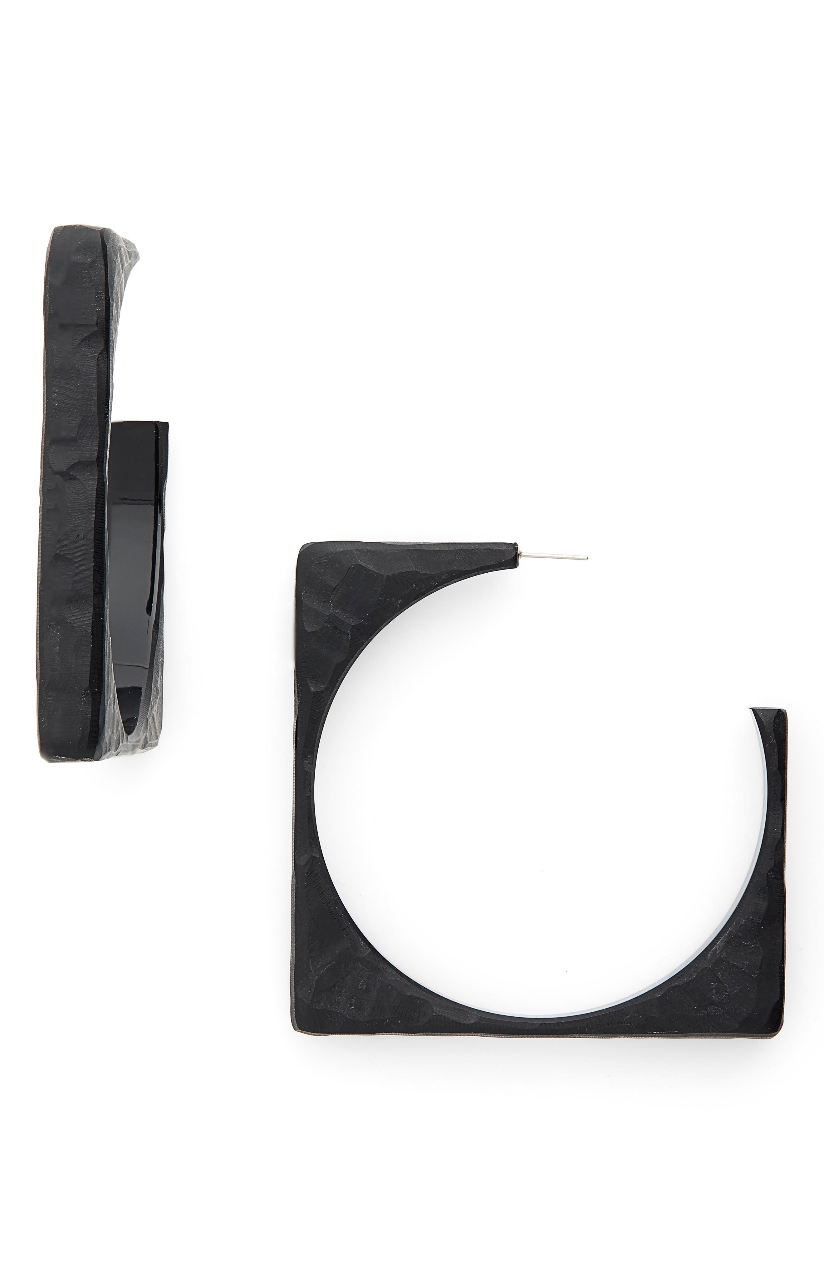 Tuck Hoop Earrings,                         Main,                         color, BLACK