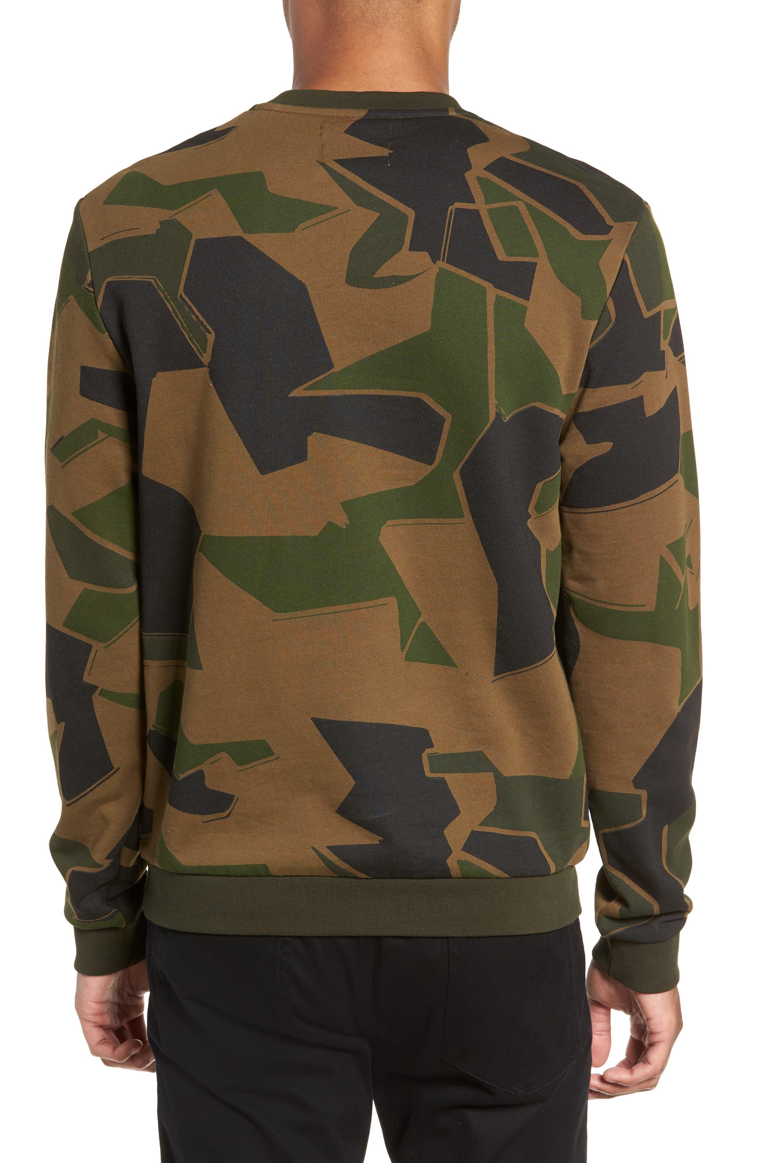 Camoflage Sweatshirt,                             Alternate thumbnail 2, color,                             WOODLAND CAMO