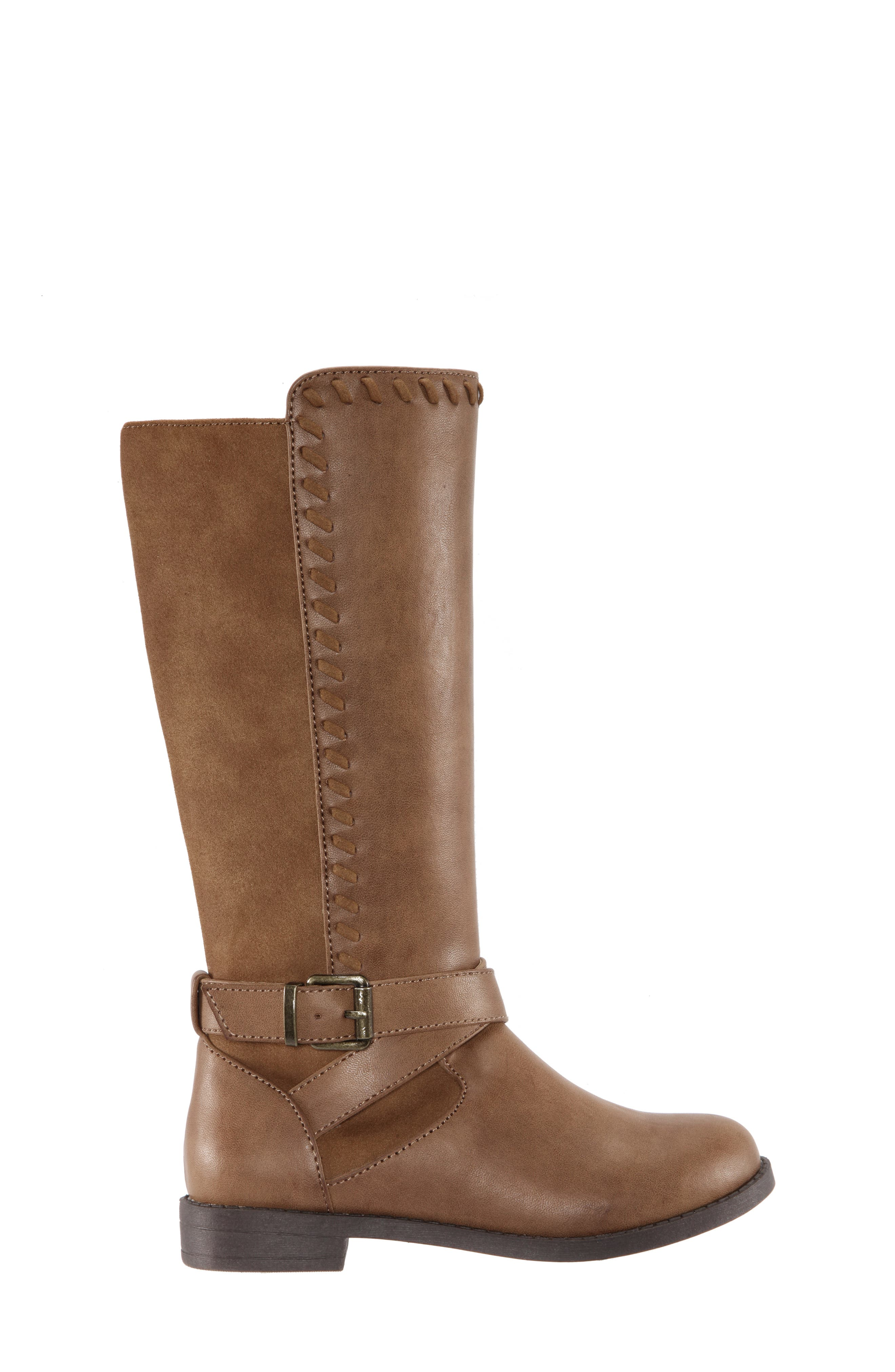 Jeanie Riding Boot,                             Alternate thumbnail 3, color,                             SADDLE BURNISHED