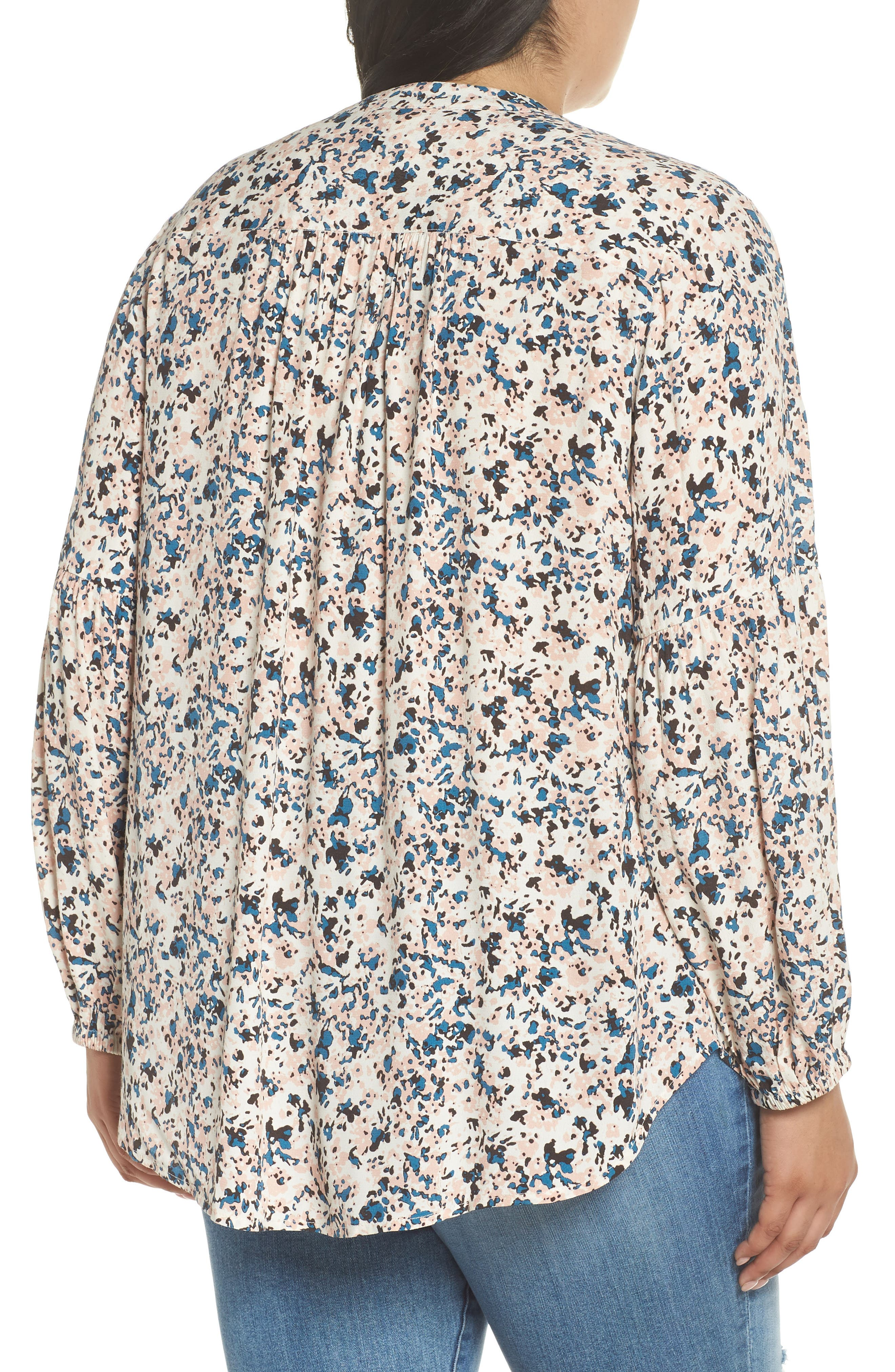 Button-Up Patterned Top,                             Alternate thumbnail 2, color,                             IVORY- PINK PIONEER FLORAL