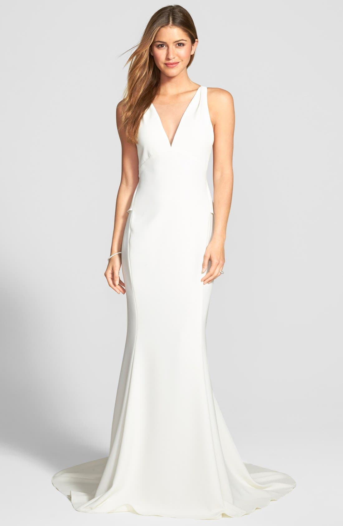 Back Detail Flared Silk Crepe Gown,                             Alternate thumbnail 3, color,                             IVORY