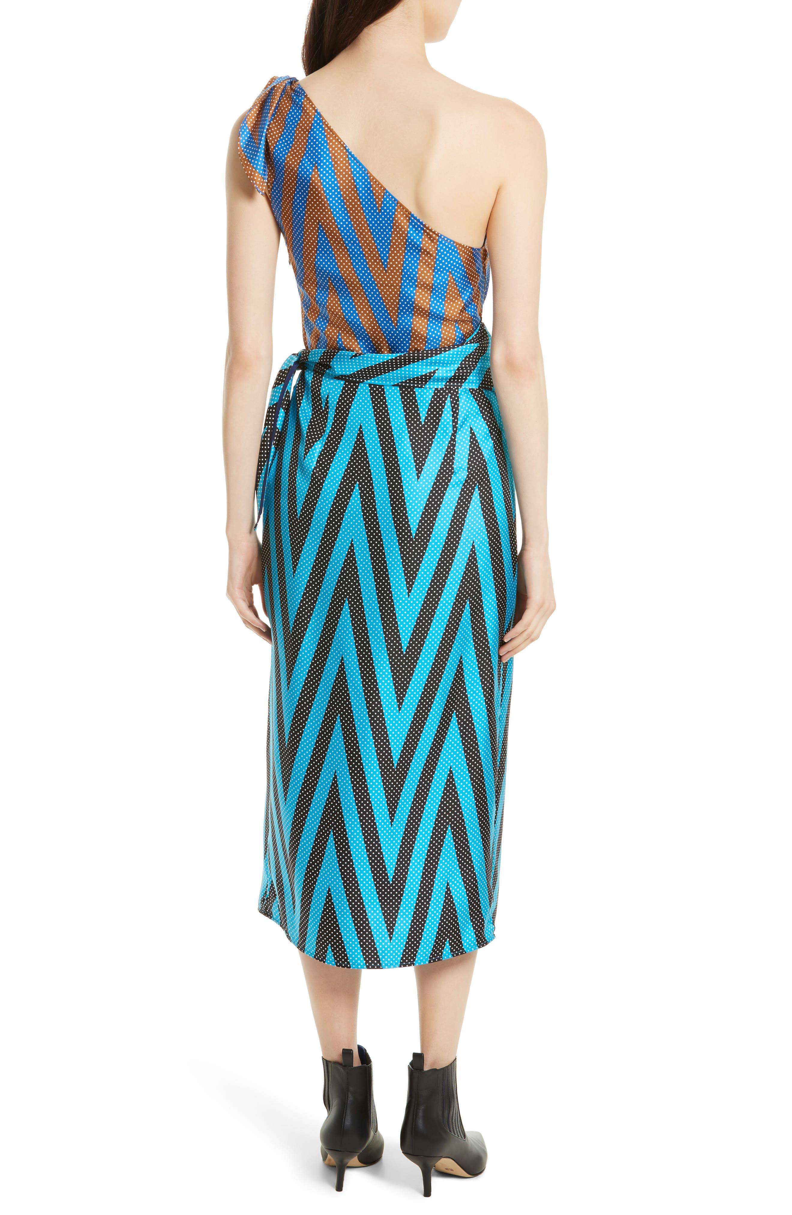 One-Shoulder Silk Scarf Dress,                             Alternate thumbnail 2, color,