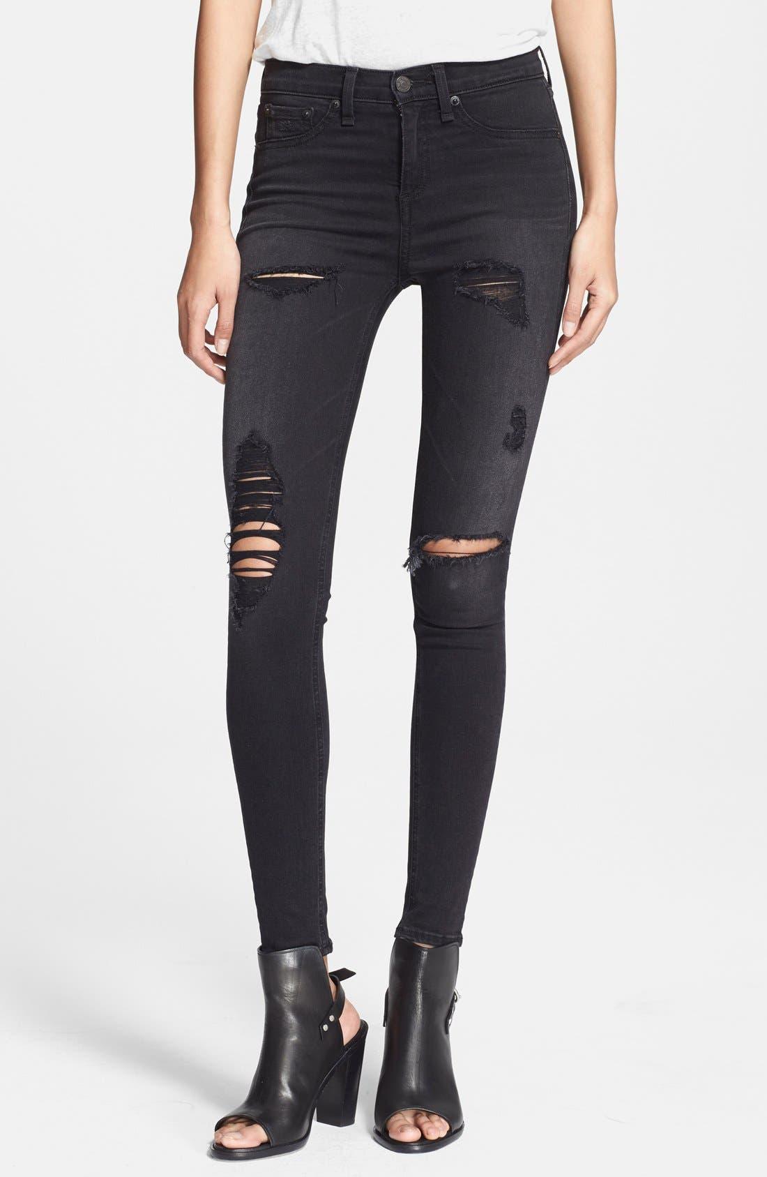 RAG & BONE,                             JEAN High Rise Ultra Skinny Jeans,                             Main thumbnail 1, color,                             001
