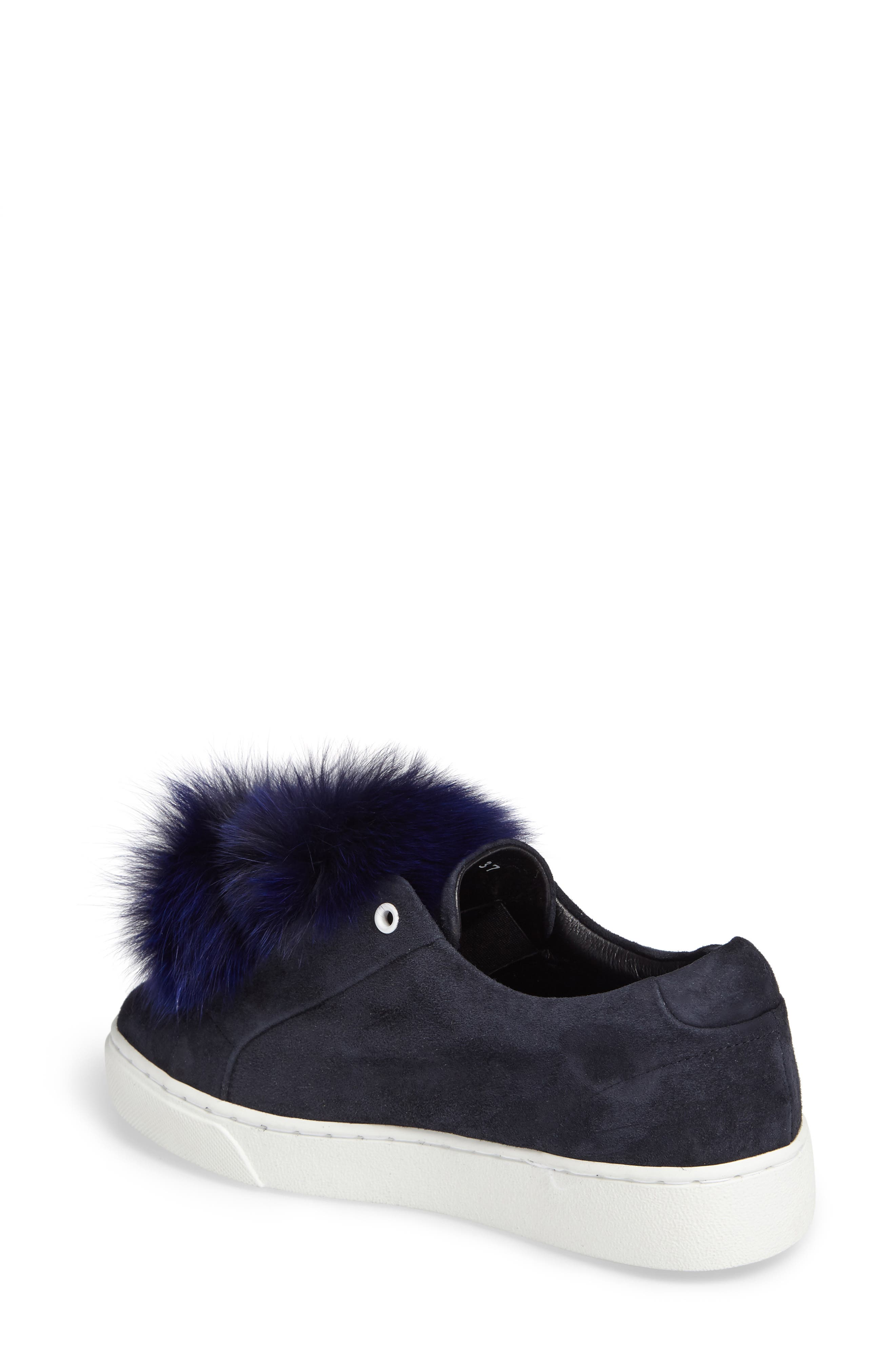 T Genuine Fox Fur Slip-On Sneaker,                             Alternate thumbnail 2, color,                             410