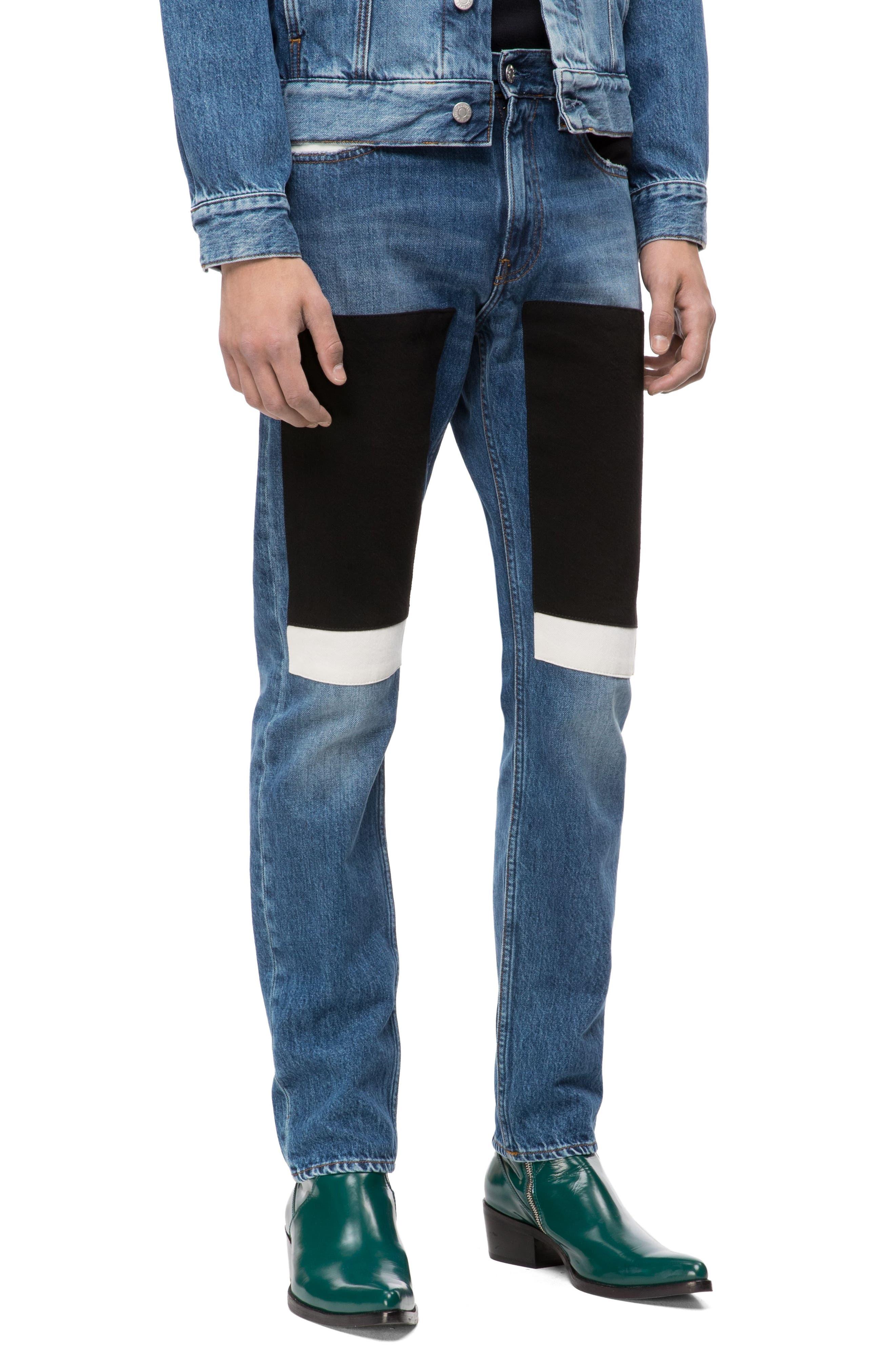 Slim Fit Colorblock Jeans,                             Main thumbnail 1, color,                             400