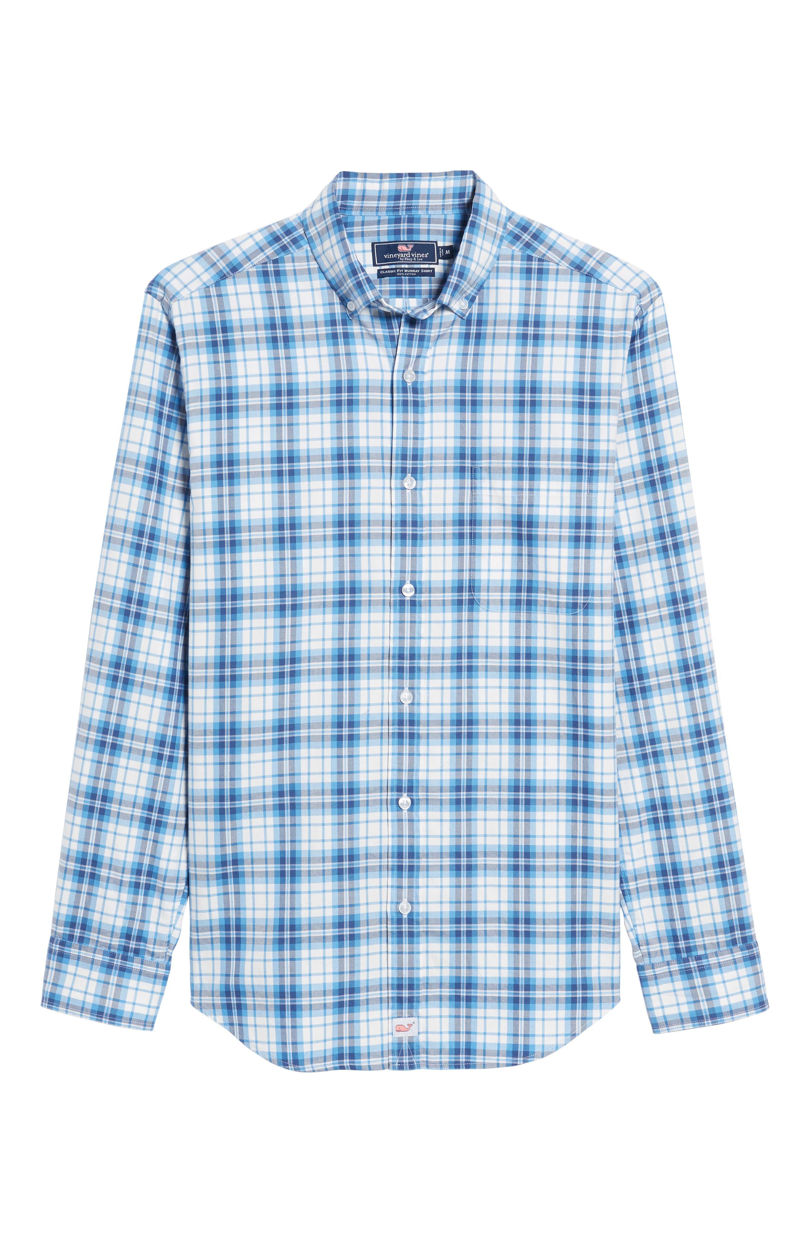 Shore Town Classic Fit Plaid Sport Shirt,                             Alternate thumbnail 6, color,