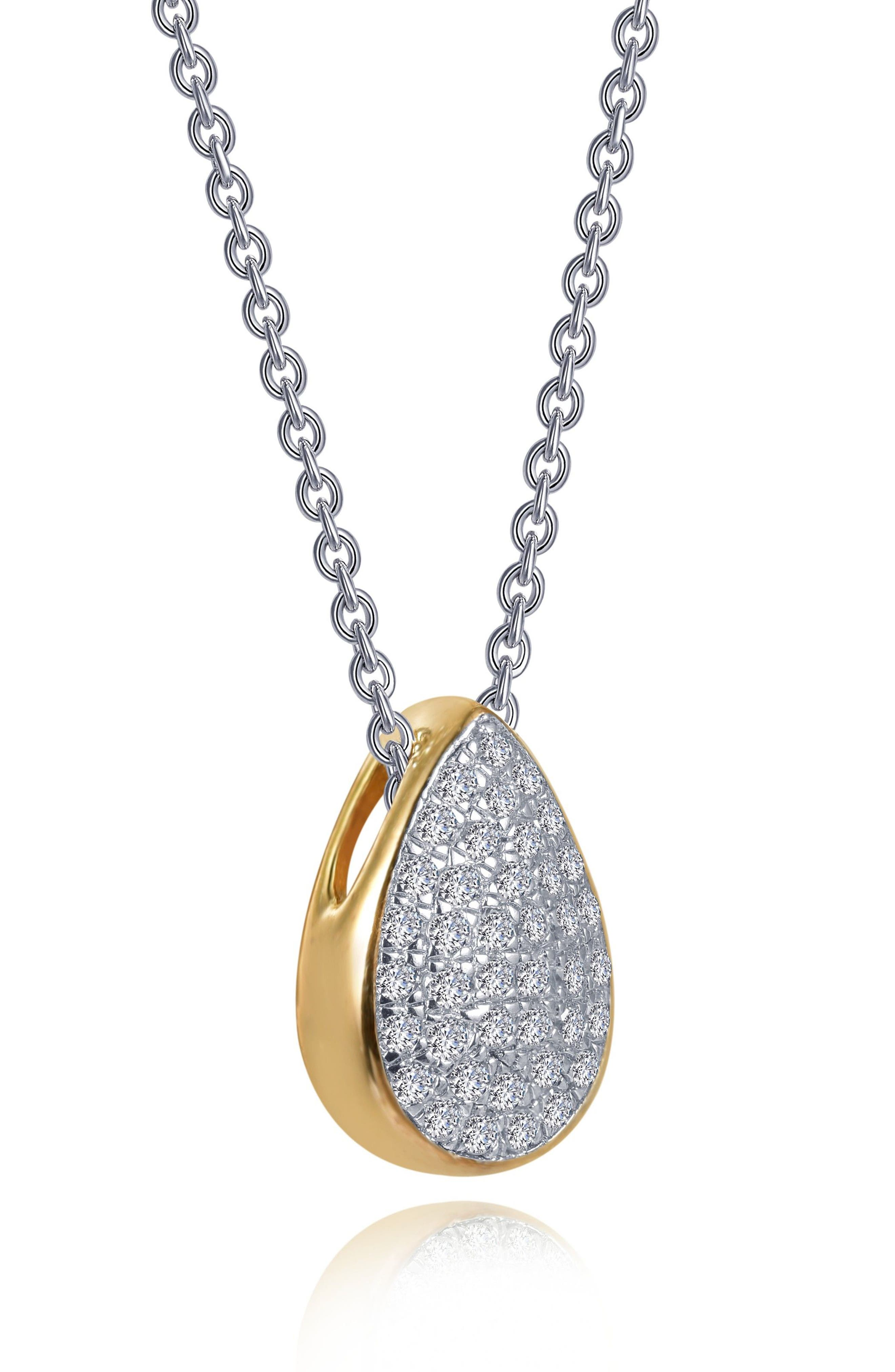 Two-Tone Pear Shape Choker Necklace,                             Alternate thumbnail 3, color,                             SILVER/ GOLD/ CLEAR