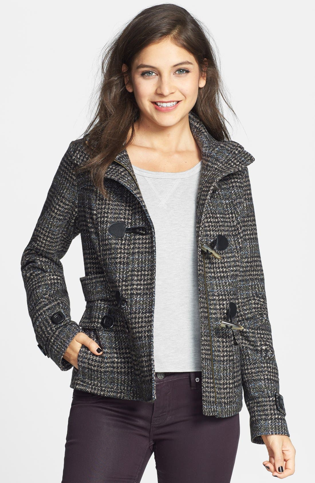 CELEBRITY PINK Plaid Toggle Coat, Main, color, 200