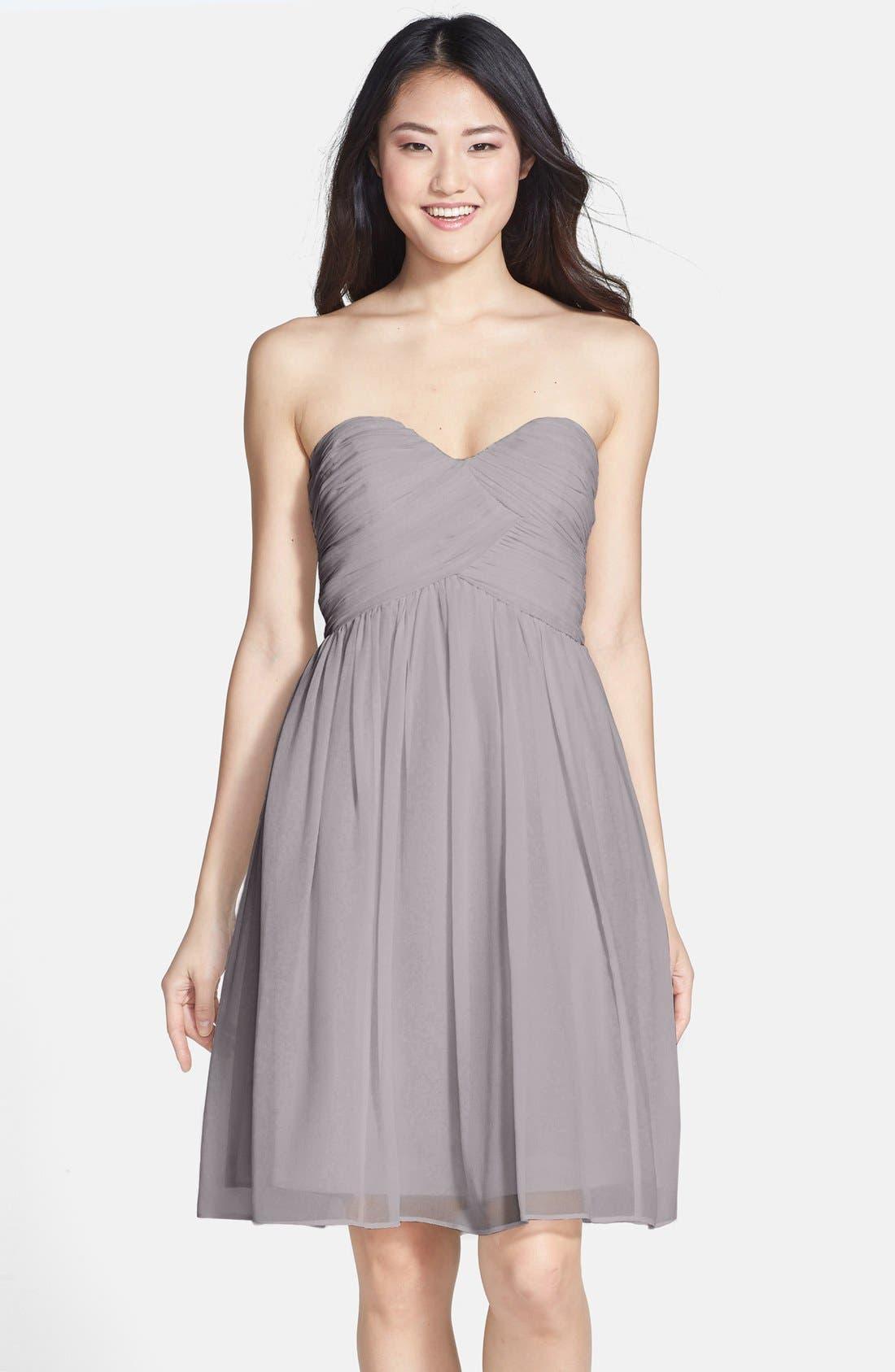 'Morgan' Strapless Silk Chiffon Dress,                             Main thumbnail 5, color,