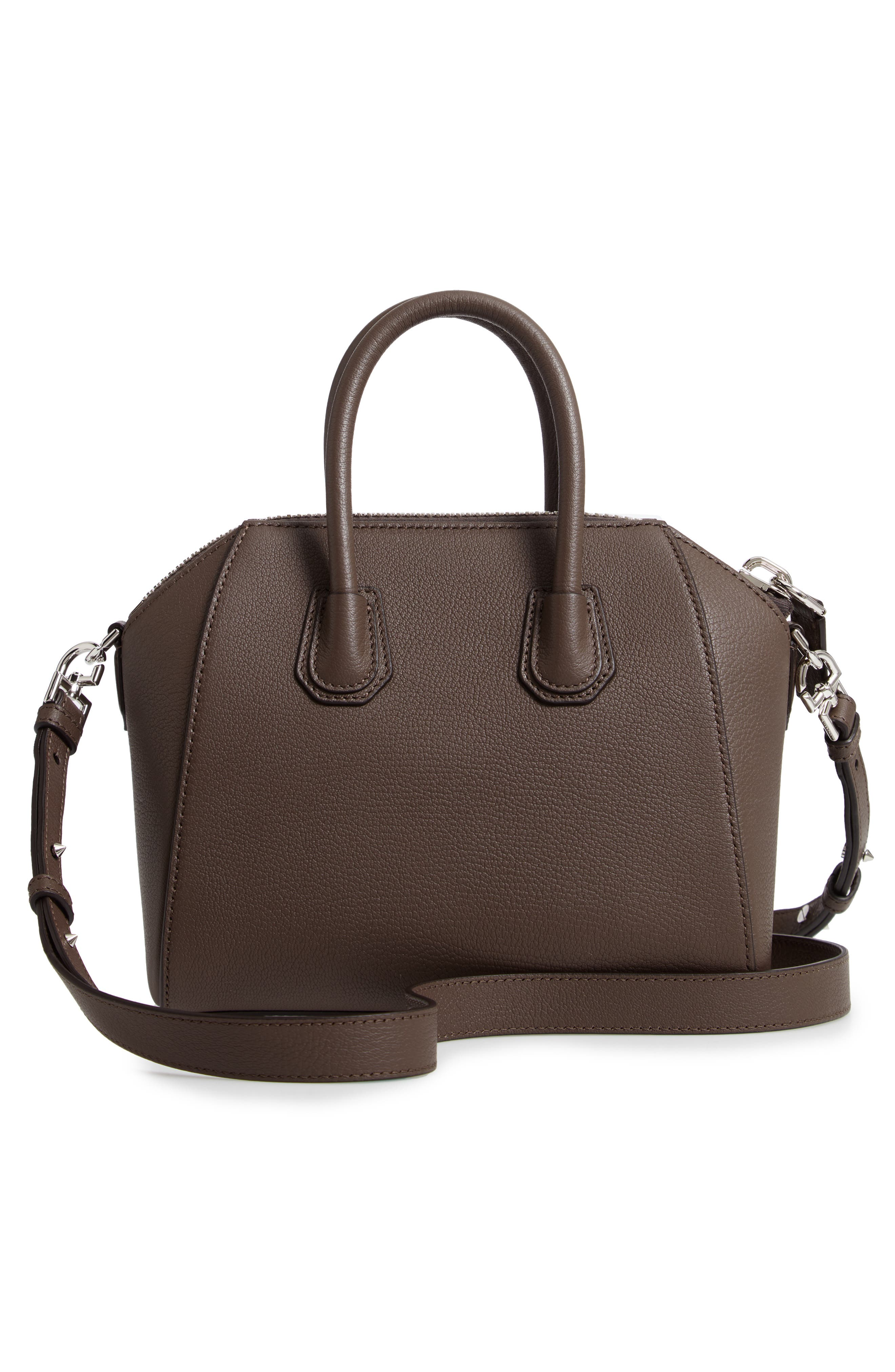 'Mini Antigona' Sugar Leather Satchel,                             Alternate thumbnail 3, color,                             HEATHER GREY