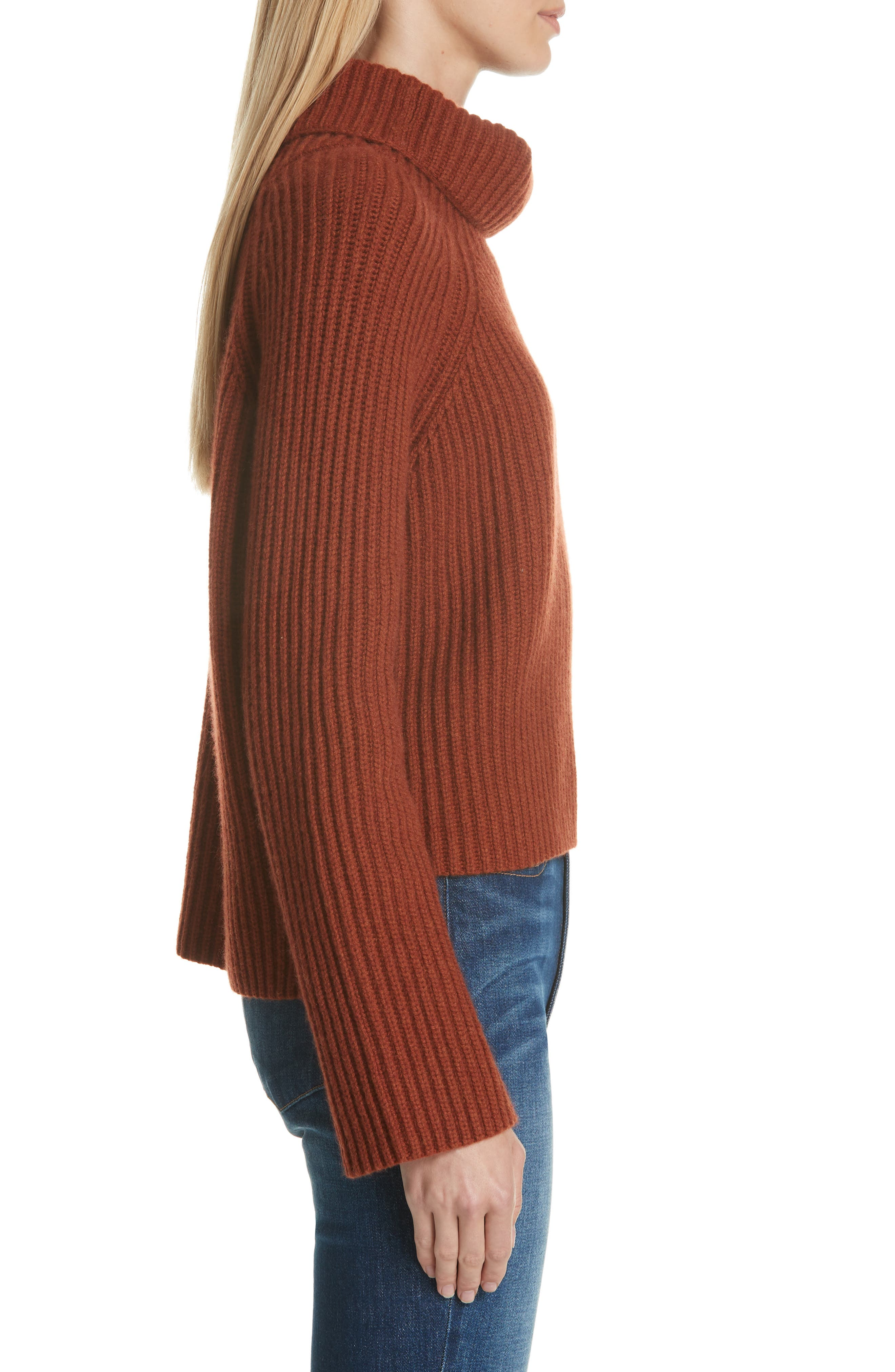 Ribbed Cashmere Turtleneck Sweater,                             Alternate thumbnail 3, color,                             221