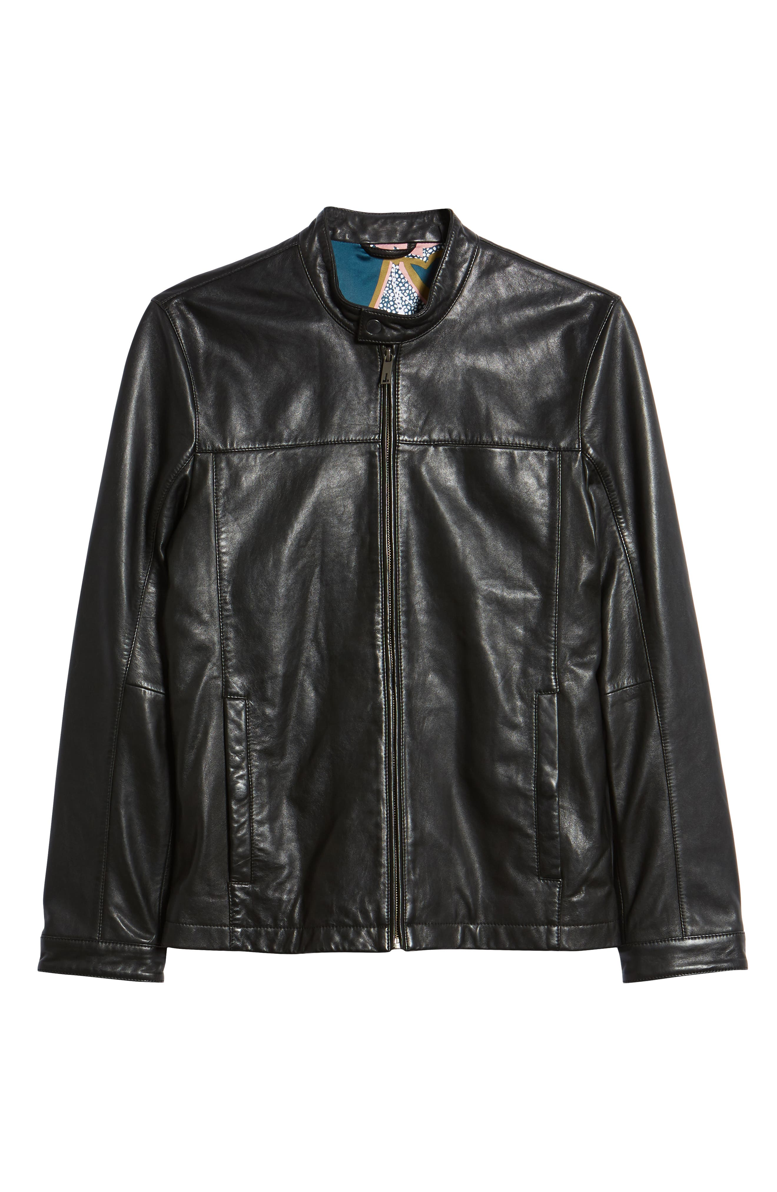 Ginga Trim Fit Leather Jacket,                             Alternate thumbnail 6, color,                             BLACK