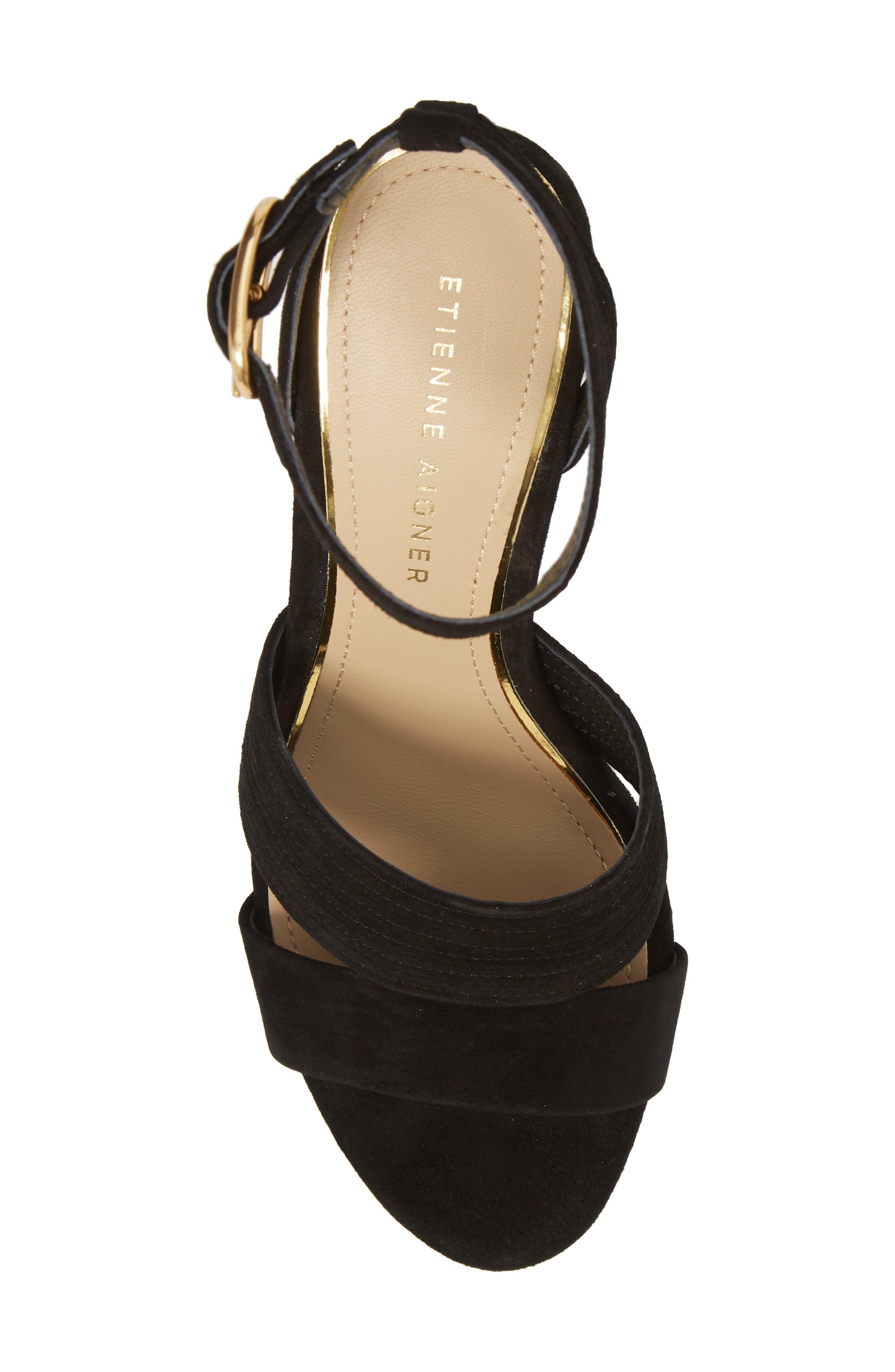 Legend Ankle Strap Sandal,                             Alternate thumbnail 5, color,                             BLACK SUEDE