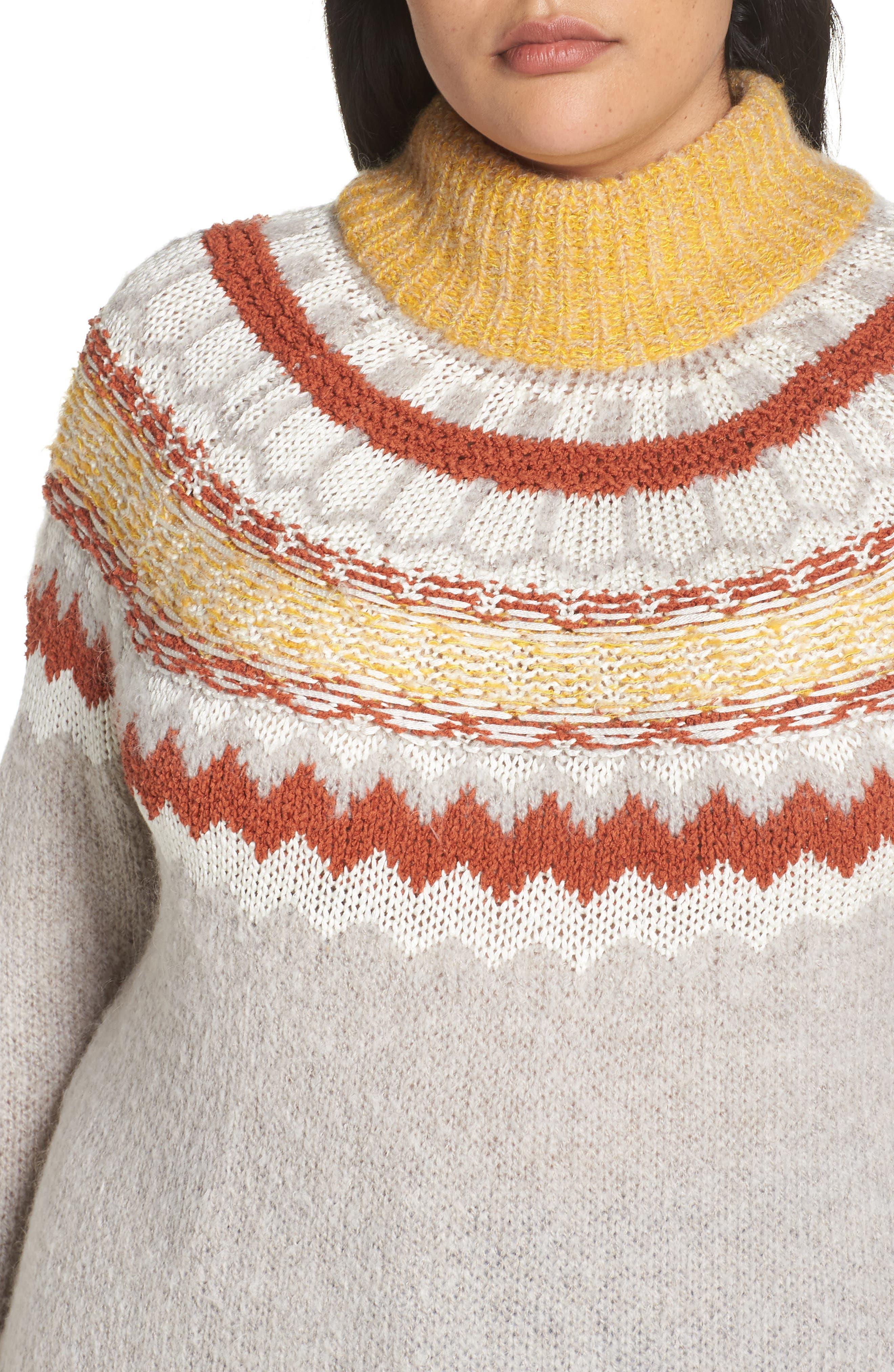 Chunky Jacquard Sweater,                             Alternate thumbnail 4, color,                             TAN COBBLESTONE FOLIAGE PTN