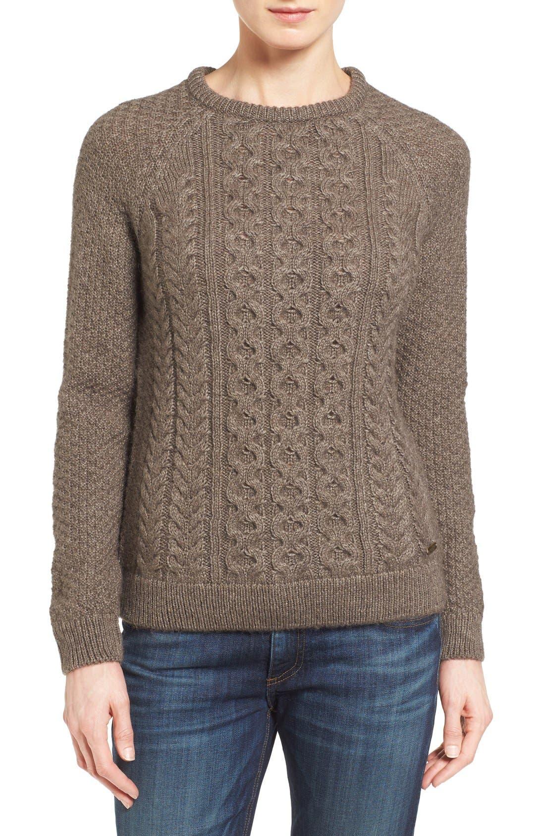Cable Knit Crewneck Sweater,                             Main thumbnail 1, color,                             270